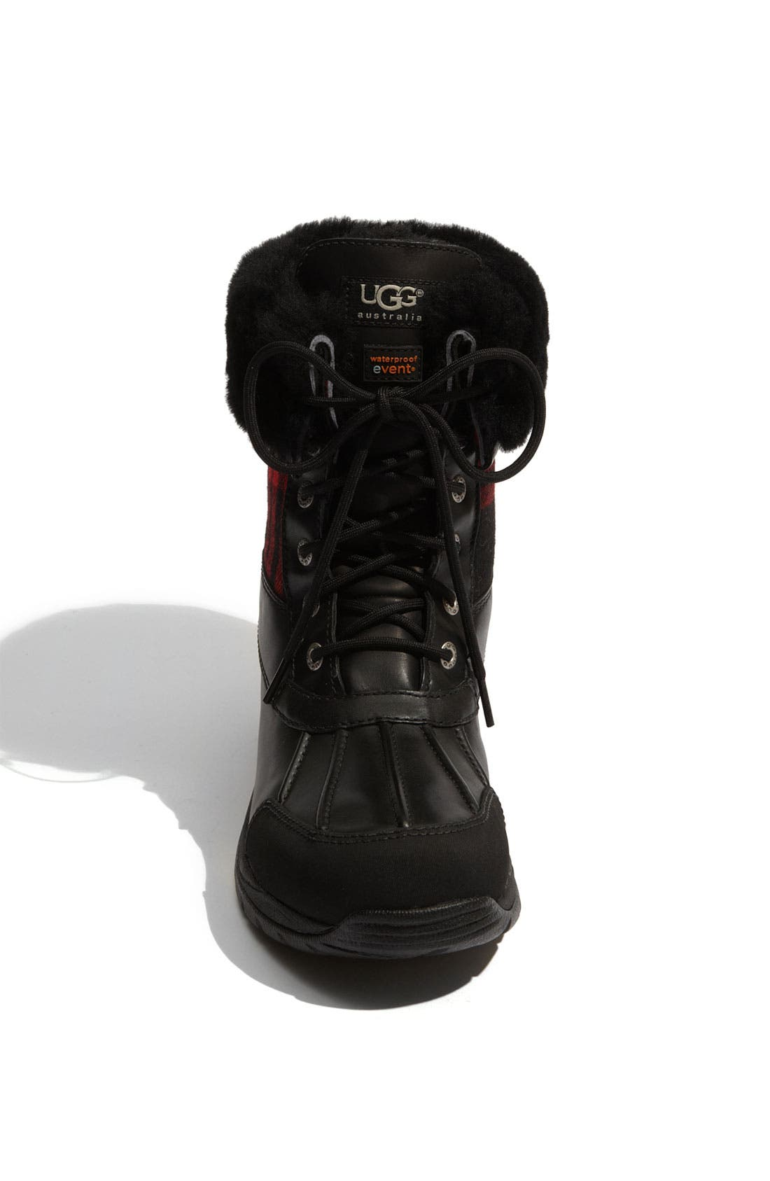UGG<SUP>®</SUP>,                             Butte Plaid Waterproof Boot,                             Alternate thumbnail 3, color,                             001