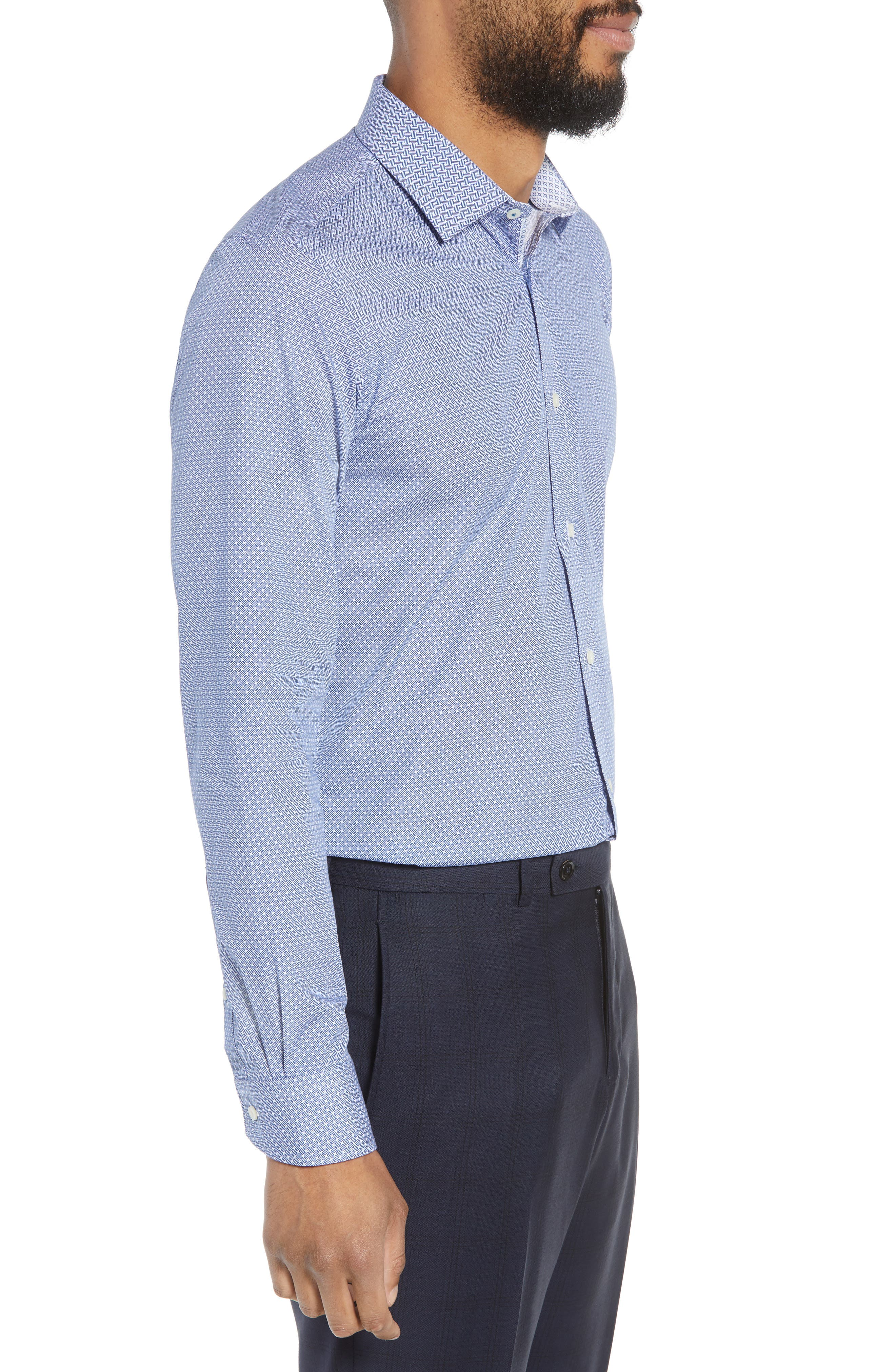 Rugber Slim Fit Print Dress Shirt,                             Alternate thumbnail 4, color,                             BLUE