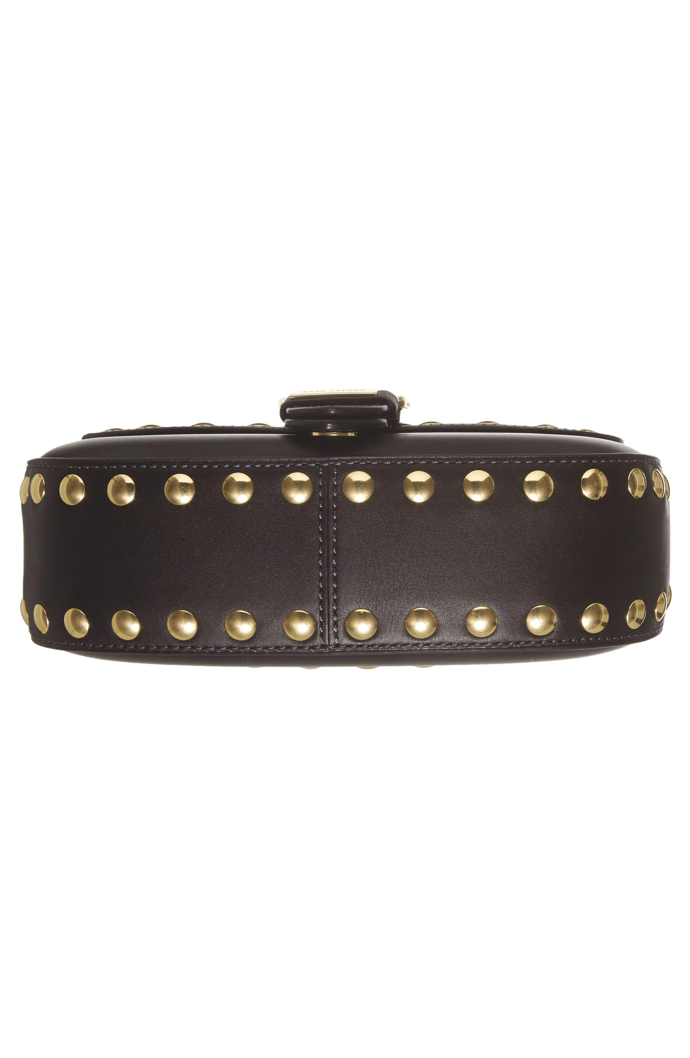 Studded Navigator Leather Crossbody Bag,                             Alternate thumbnail 6, color,                             001