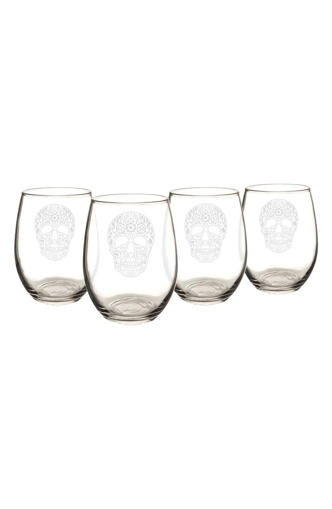 Sugar Skulls Set of 4 Stemless Wine Glasses,                         Main,                         color, CLEAR