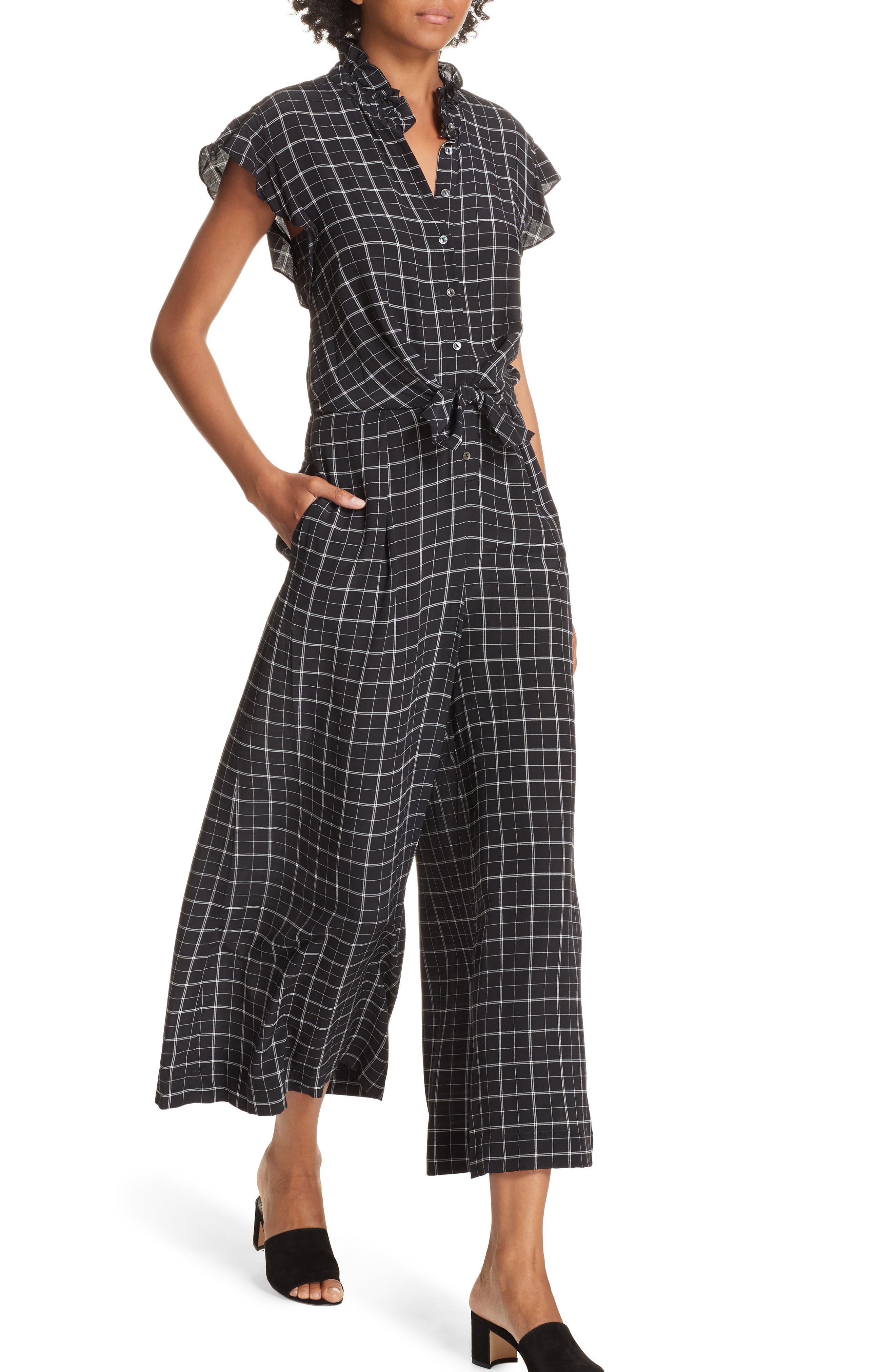 Plaid Silk Jumpsuit,                             Alternate thumbnail 4, color,                             BLACK