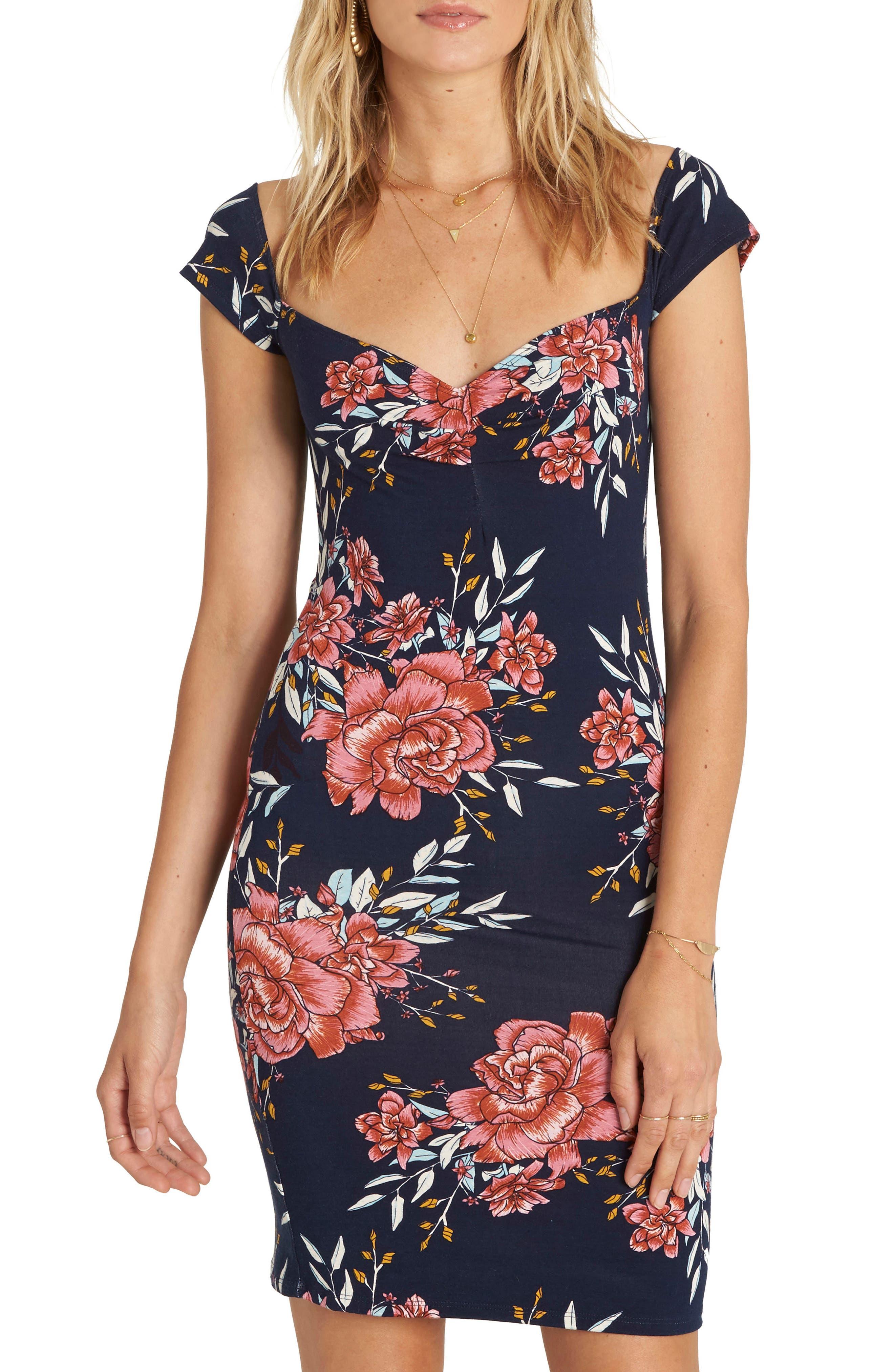 Go On Floral Print Dress,                         Main,                         color, DEEP SEA BLUE