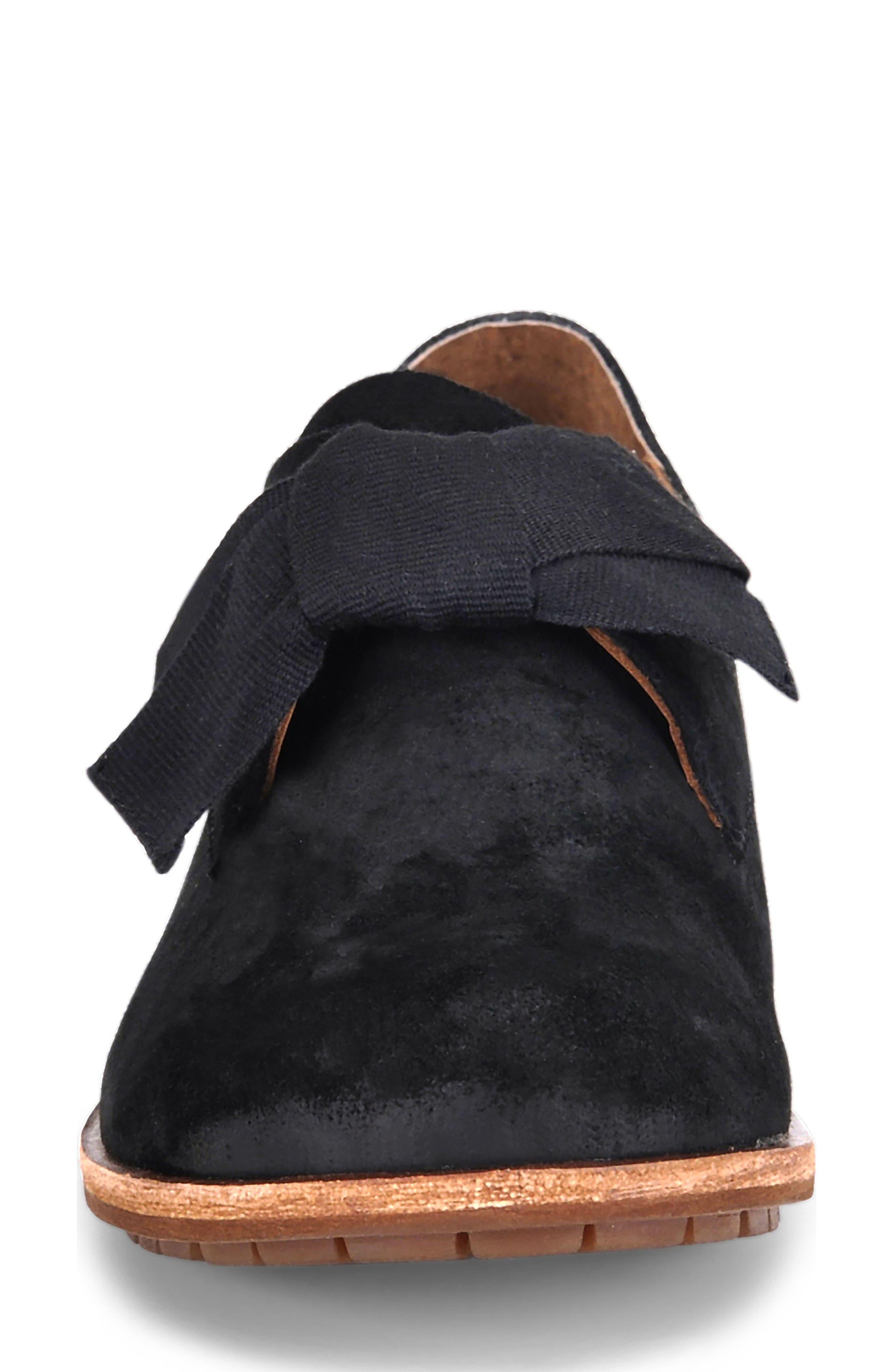 Beryl Bow Flat,                             Alternate thumbnail 4, color,                             BLACK SUEDE