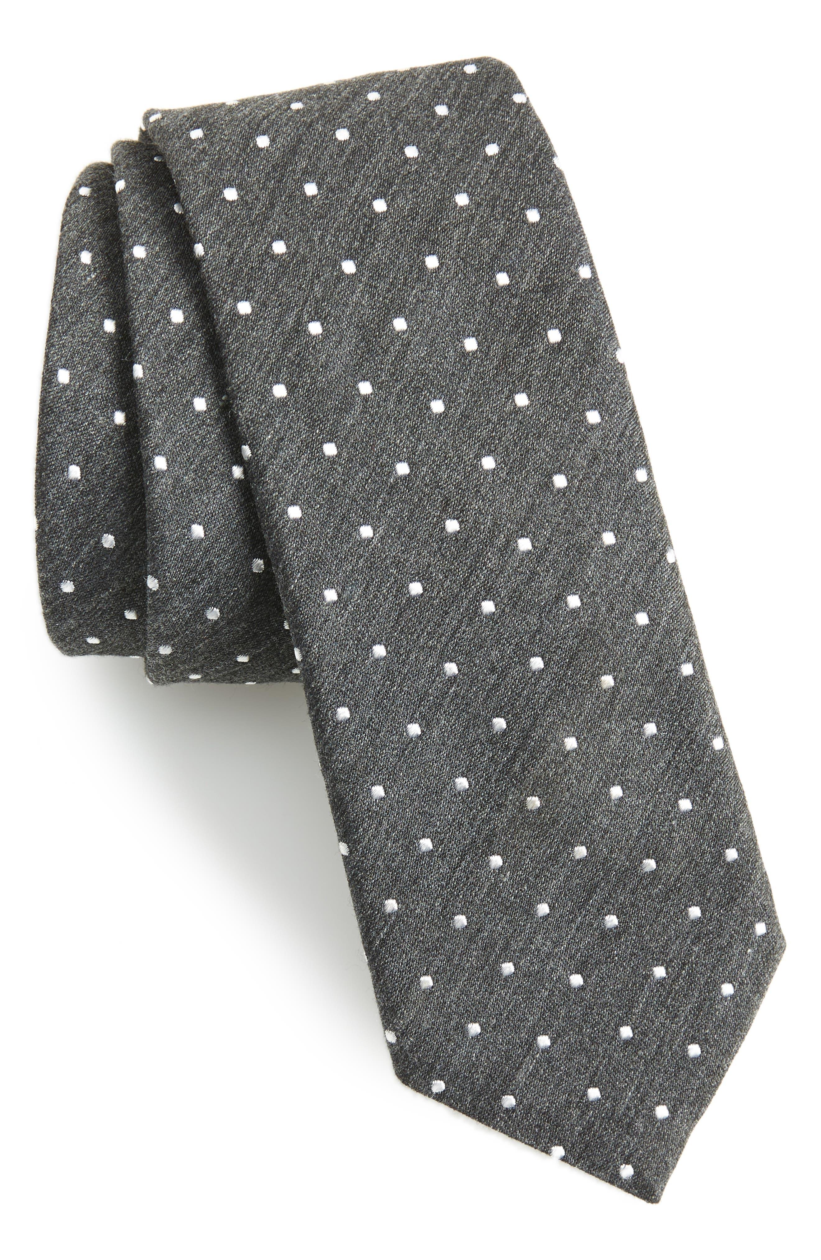 Knit Tie,                         Main,                         color, GREY