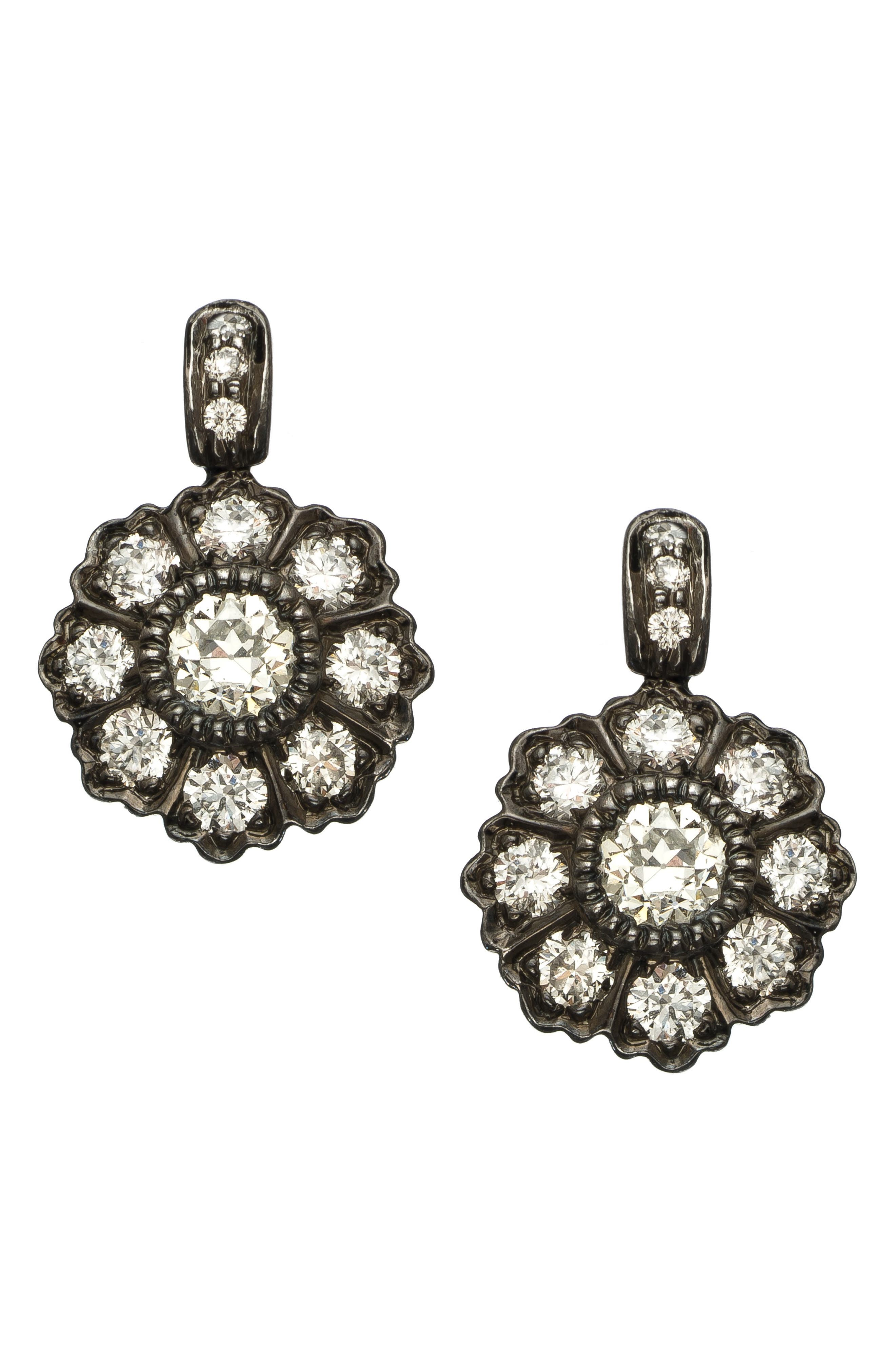 Ivy Mine Rose Cut Diamond Drop Earring in Black