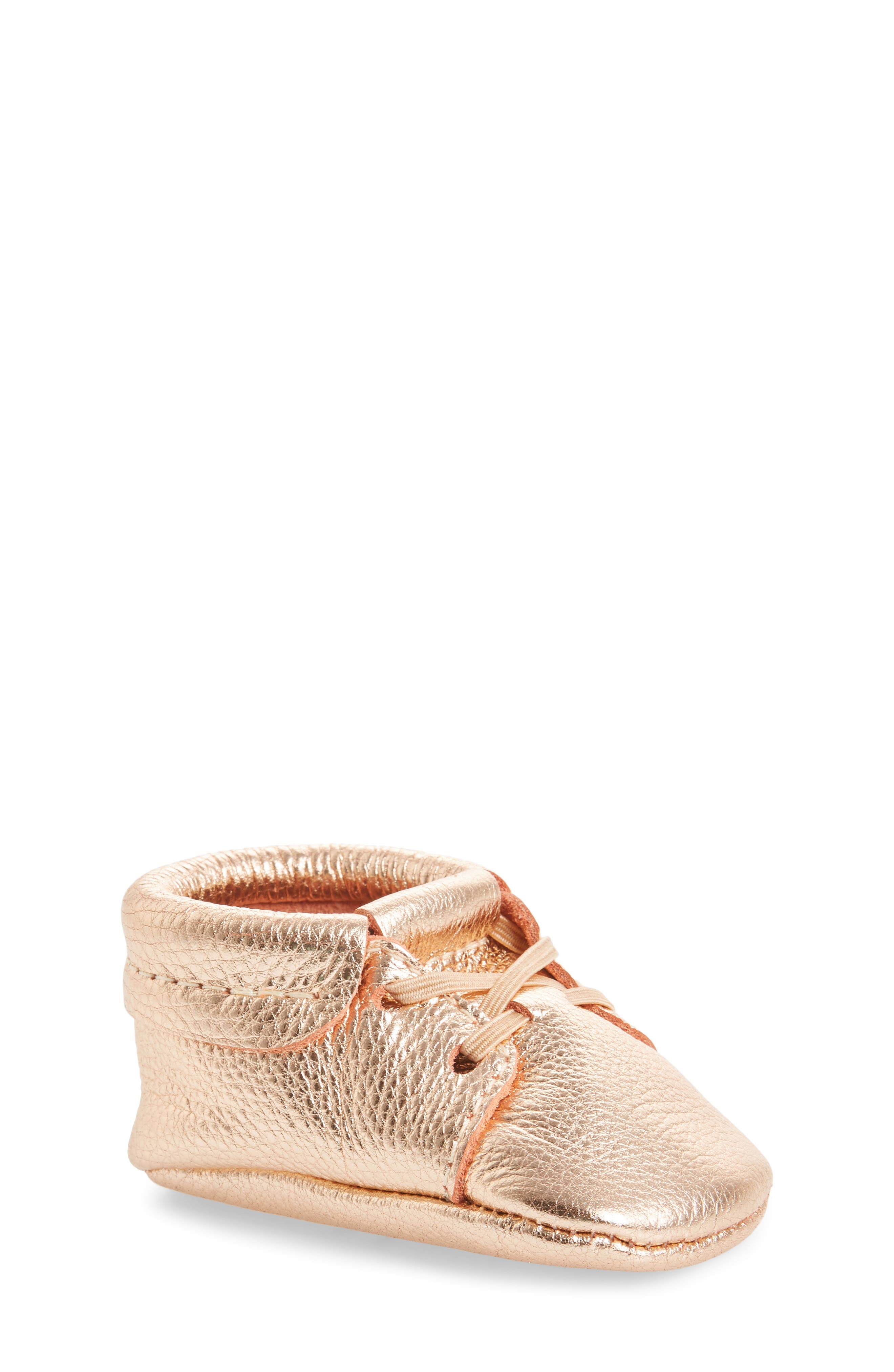 Oxford Crib Shoe,                         Main,                         color, ROSE GOLD LEATHER