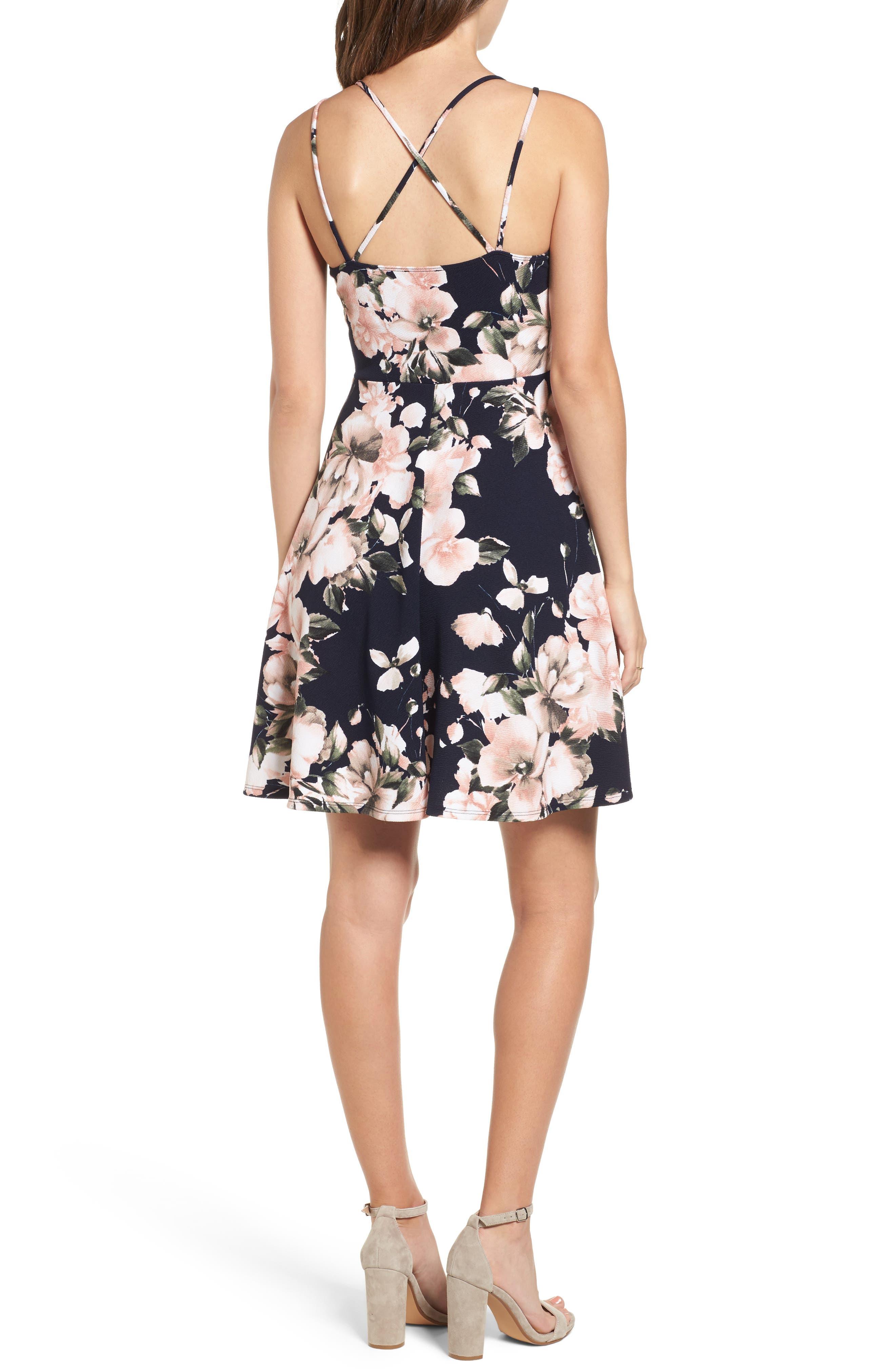 Floral Print Skater Dress,                             Alternate thumbnail 2, color,                             410