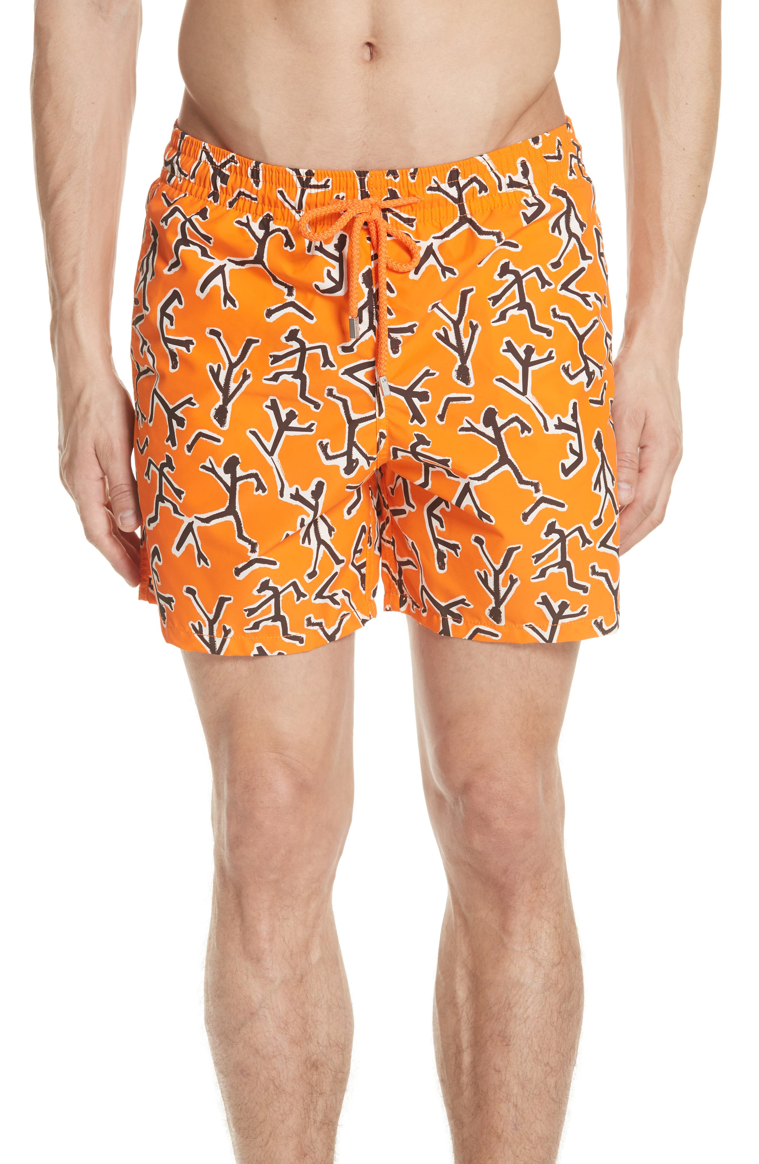 Fire Dance Swim Trunks,                             Main thumbnail 1, color,                             PAPAYA