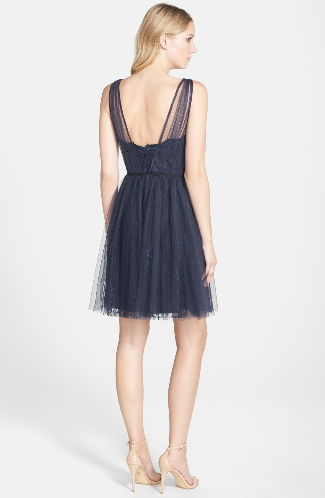 Tulle Overlay Lace Fit & Flare Dress,                             Alternate thumbnail 2, color,                             NAVY