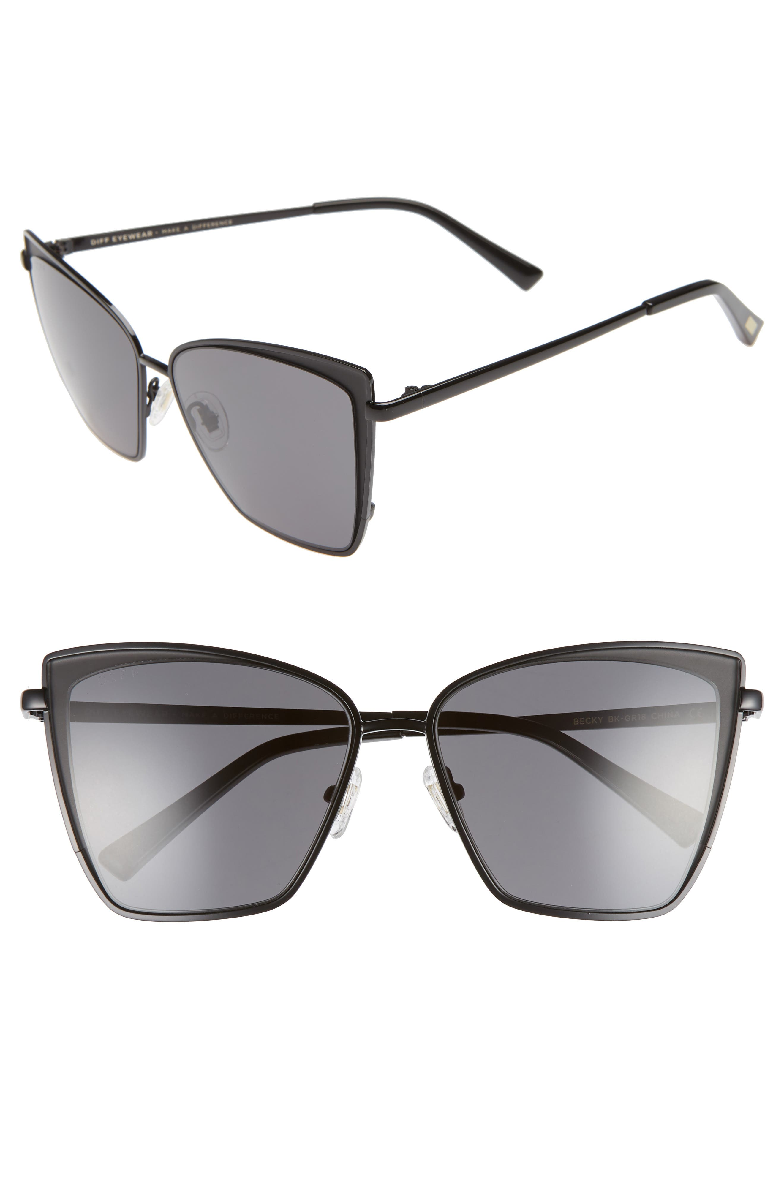 Becky 57mm Sunglasses,                         Main,                         color, BLACK/ GREY