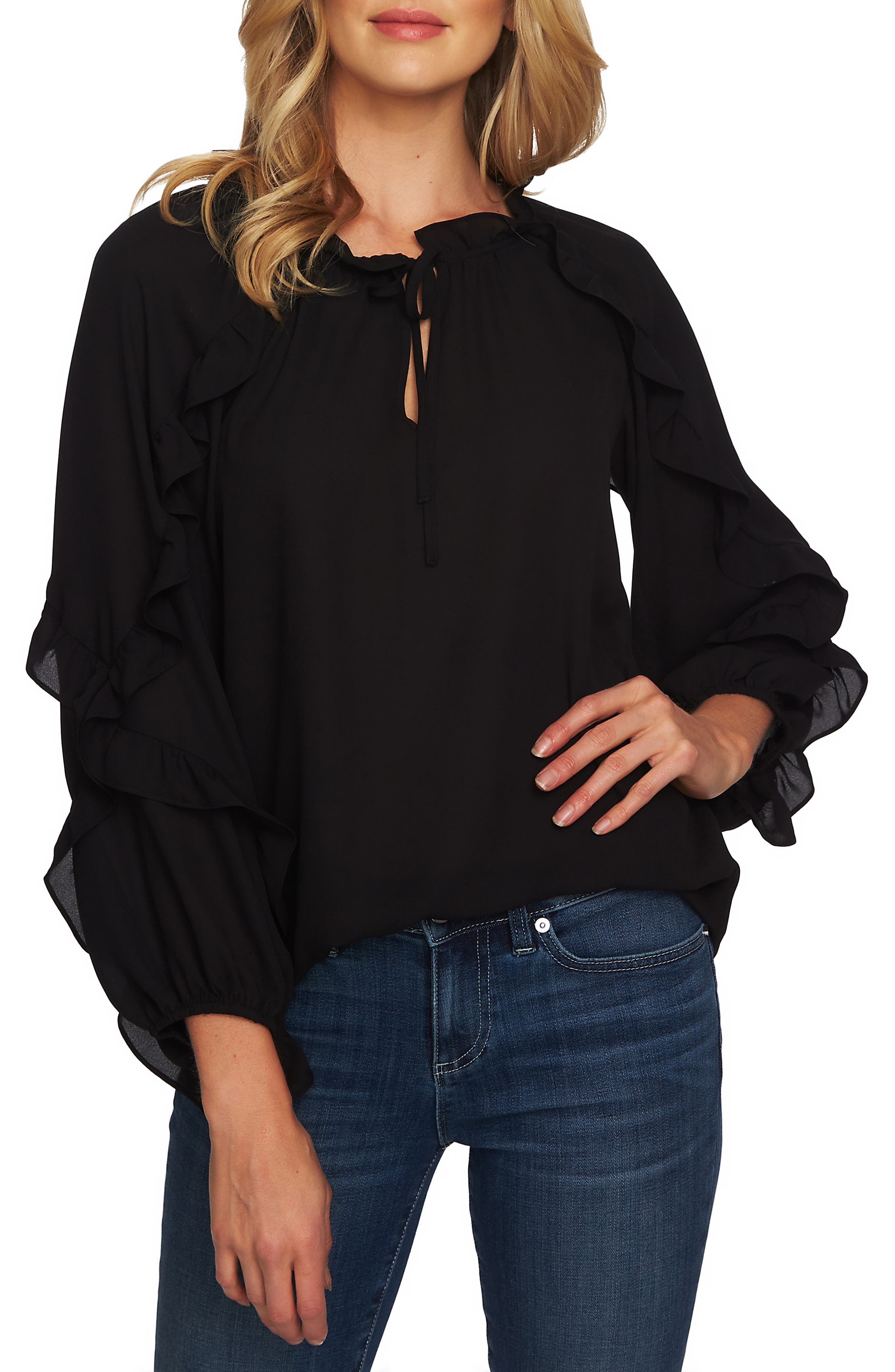 Cascading Ruffle Tie Neck Top, Main, color, RICH BLACK