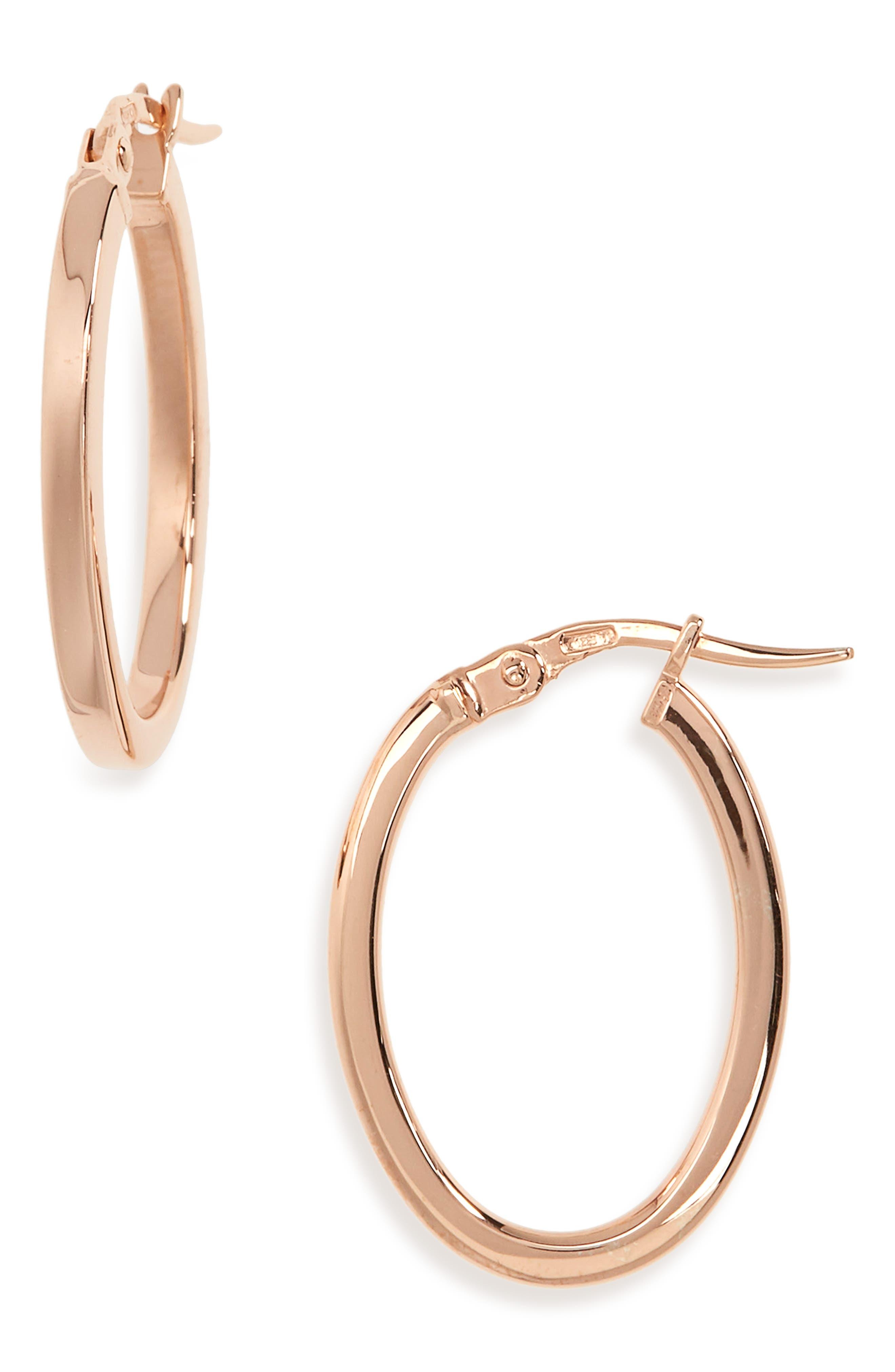 Medium Hoop Earrings,                         Main,                         color, ROSE GOLD