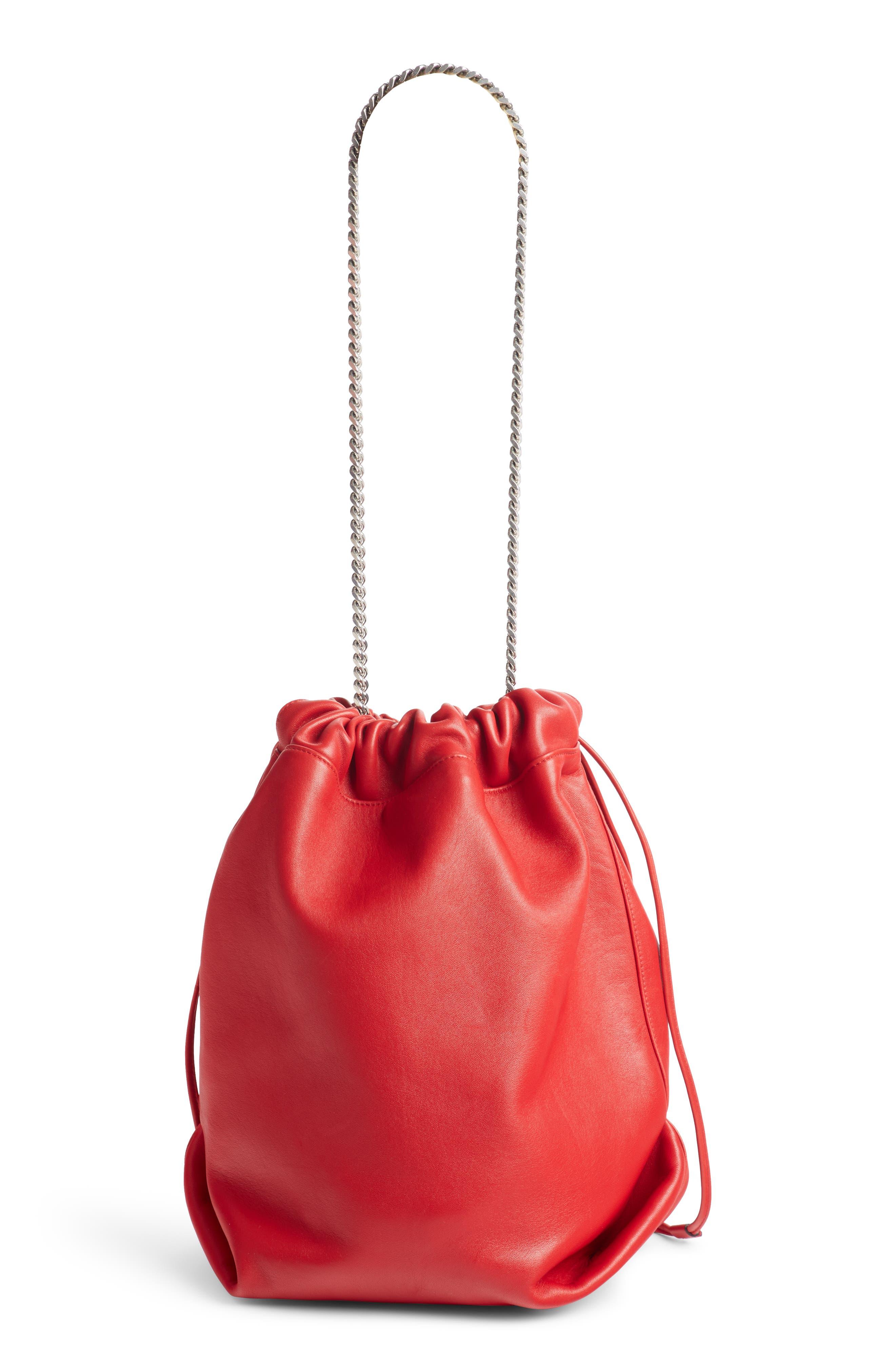 Teddy Leather Bucket Bag,                             Alternate thumbnail 3, color,                             ROUGE EROS