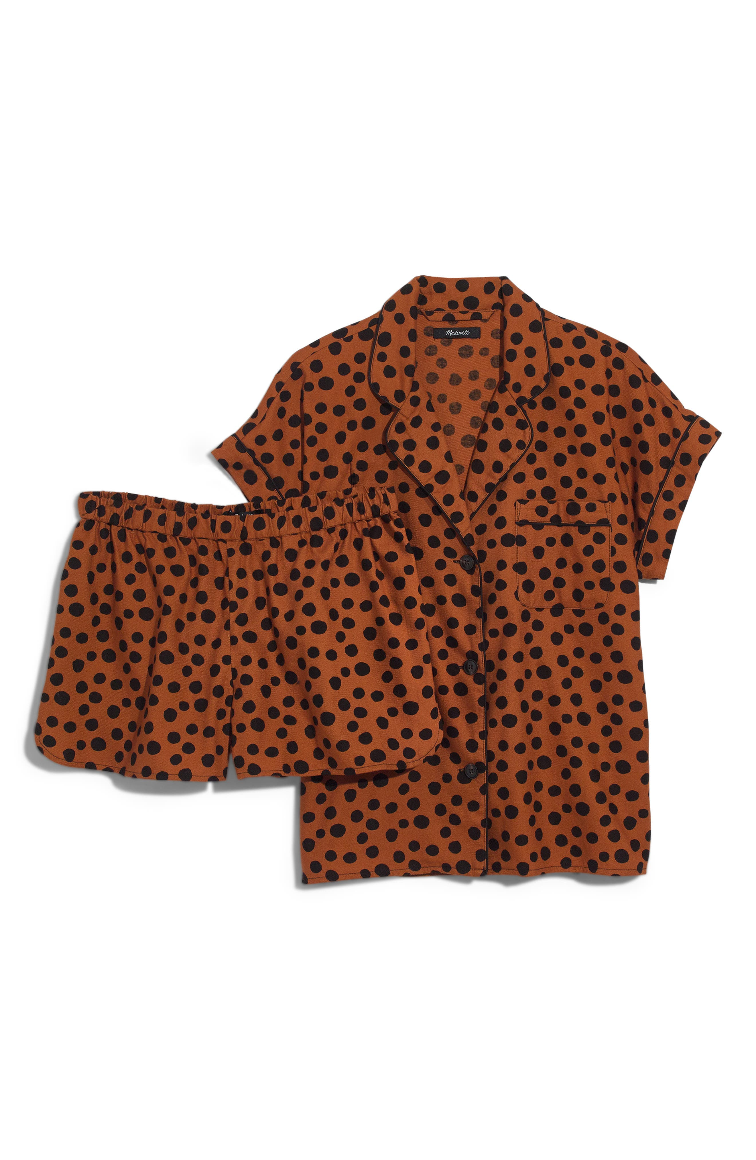 MADEWELL Leopard Dot Flannel Bedtime Pajamas, Main, color, 200