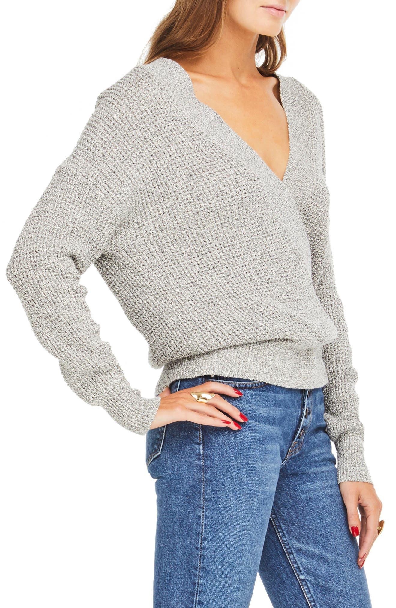 Stephanie Surplice Sweater,                             Alternate thumbnail 3, color,                             HEATHER GREY