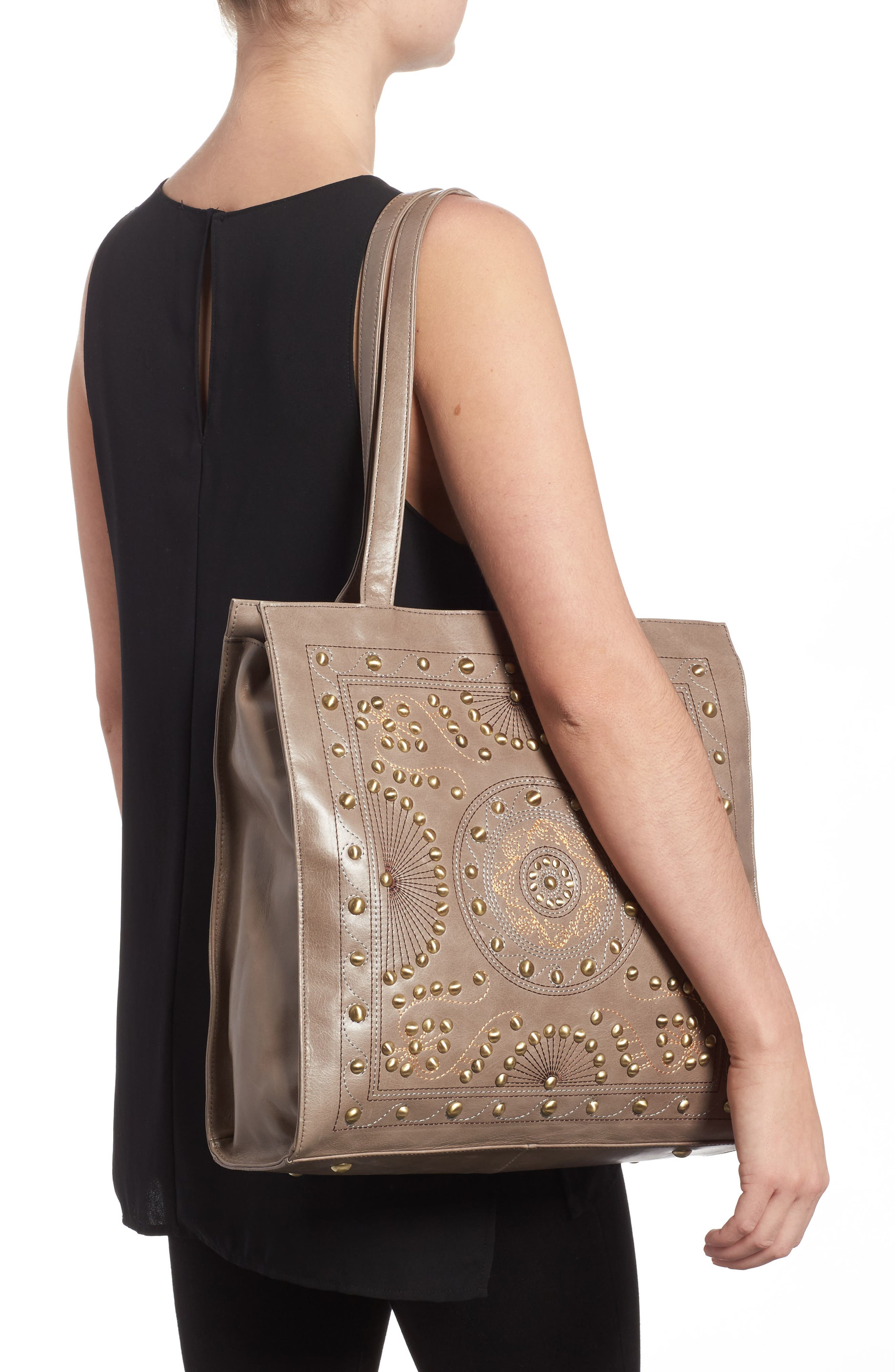 Avalon Studded Calfskin Leather Tote,                             Alternate thumbnail 4, color,