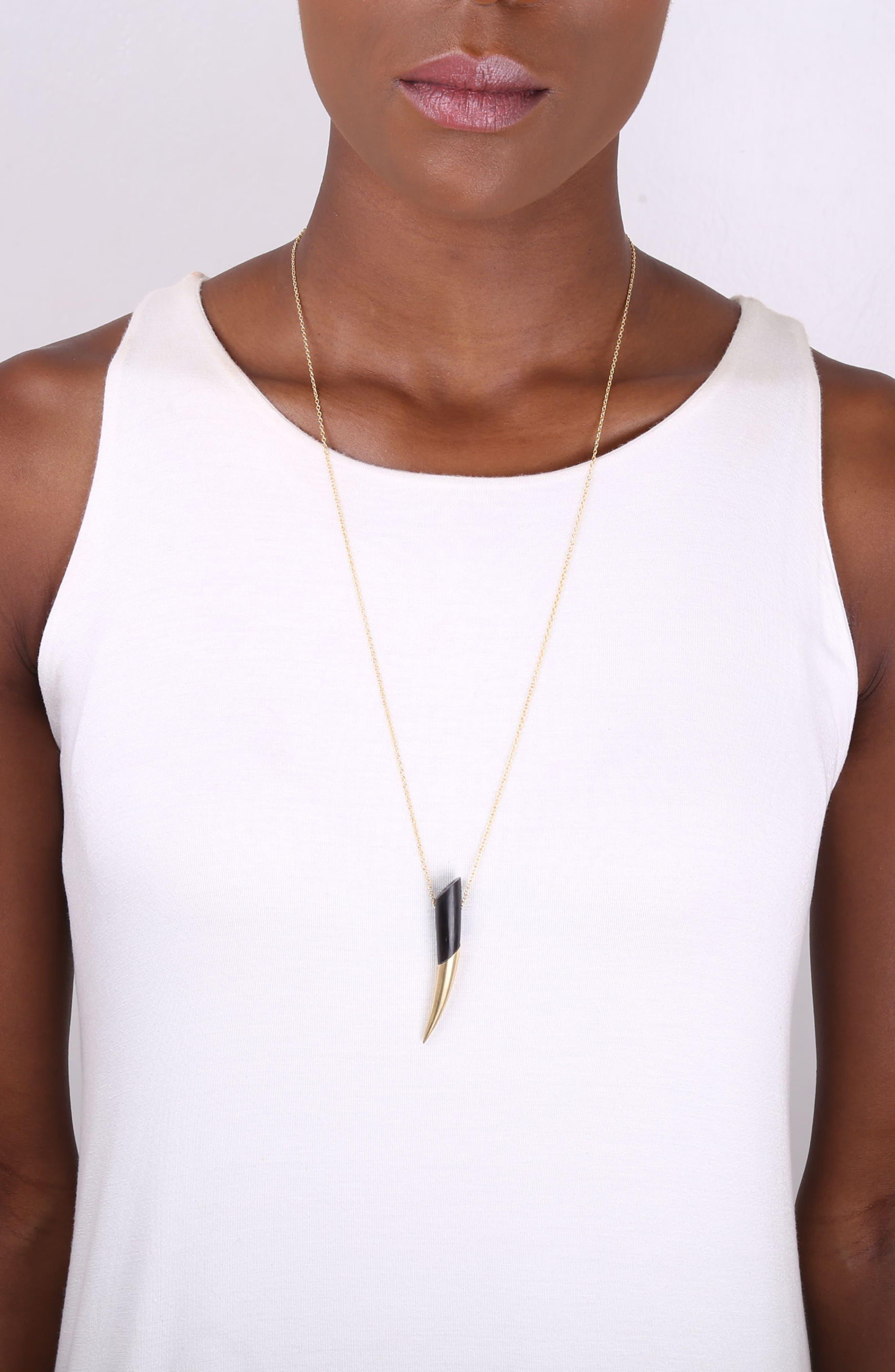 Dalili Horn Pendant Necklace,                             Alternate thumbnail 3, color,                             005