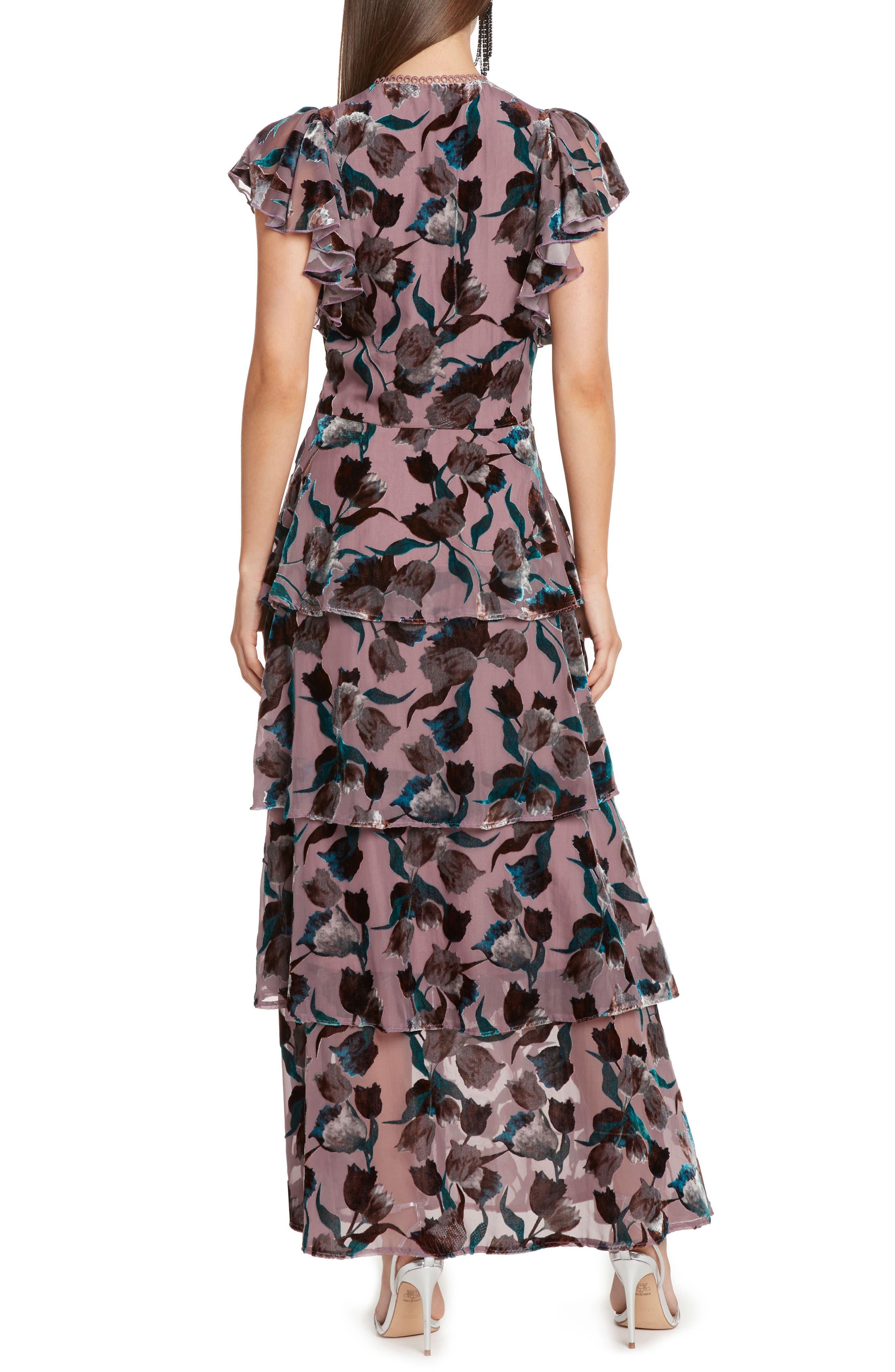 Velvet Burnout Tiered Maxi Dress,                             Alternate thumbnail 2, color,                             DUSTY LILAC