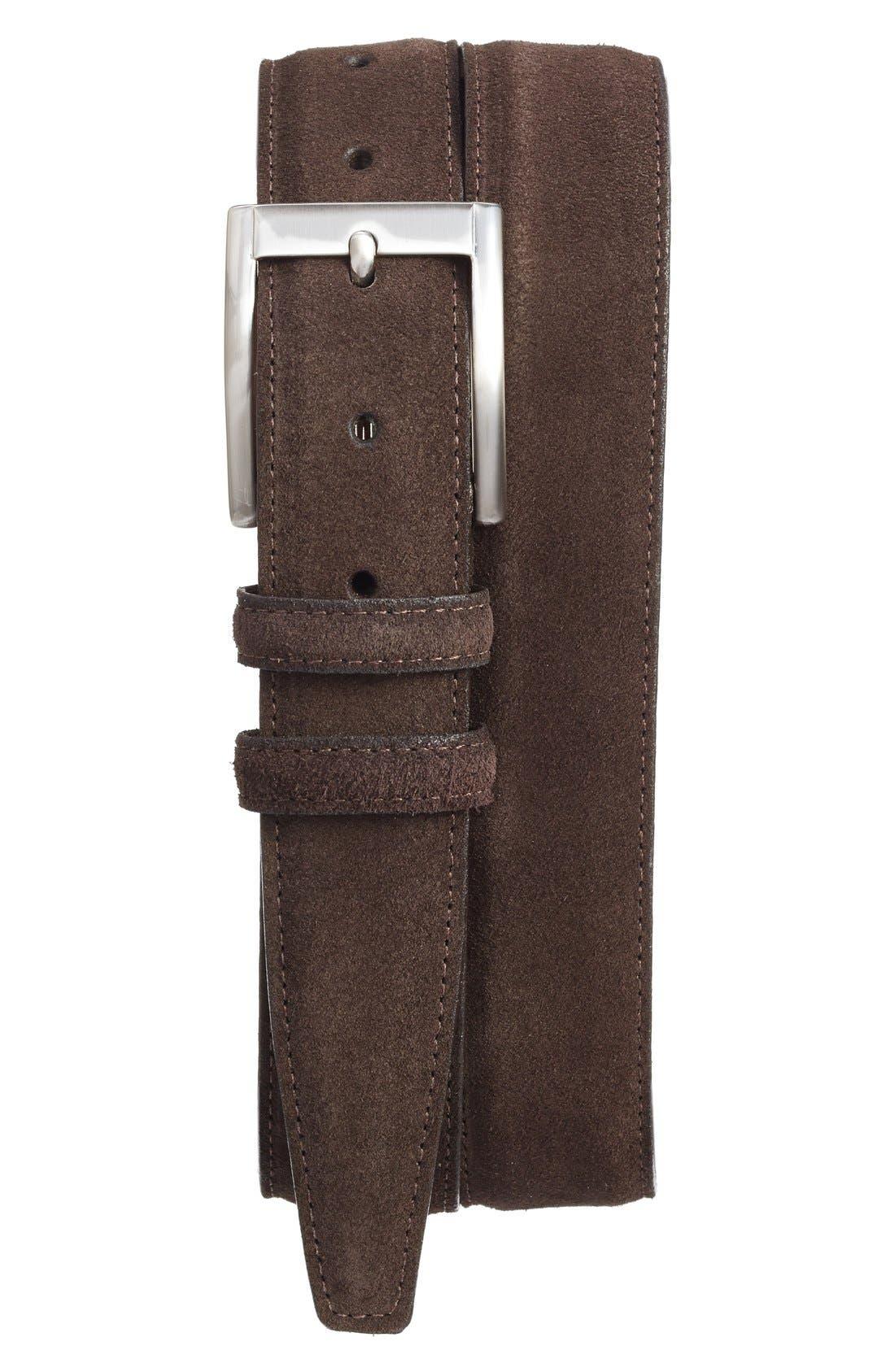 Torino Belts Suede Belt, Espresso