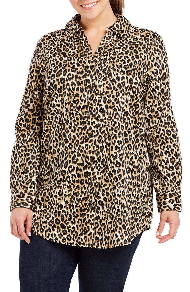 Faith Leopard Print Tunic Shirt,                         Main,                         color, ALMOND TART