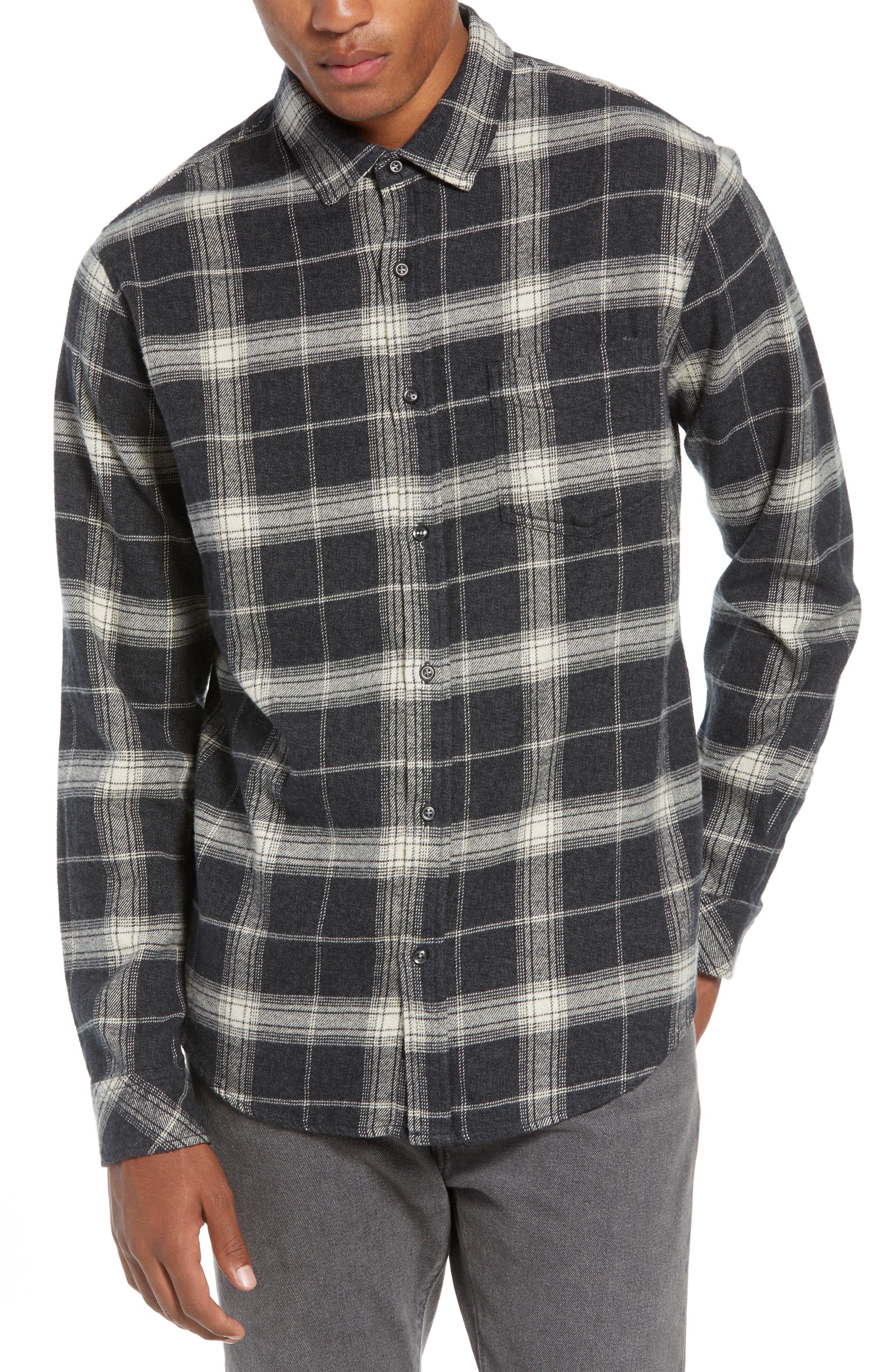 Forrest Regular Fit Plaid Flannel Sport Shirt,                             Main thumbnail 1, color,                             COAL/ IVORY