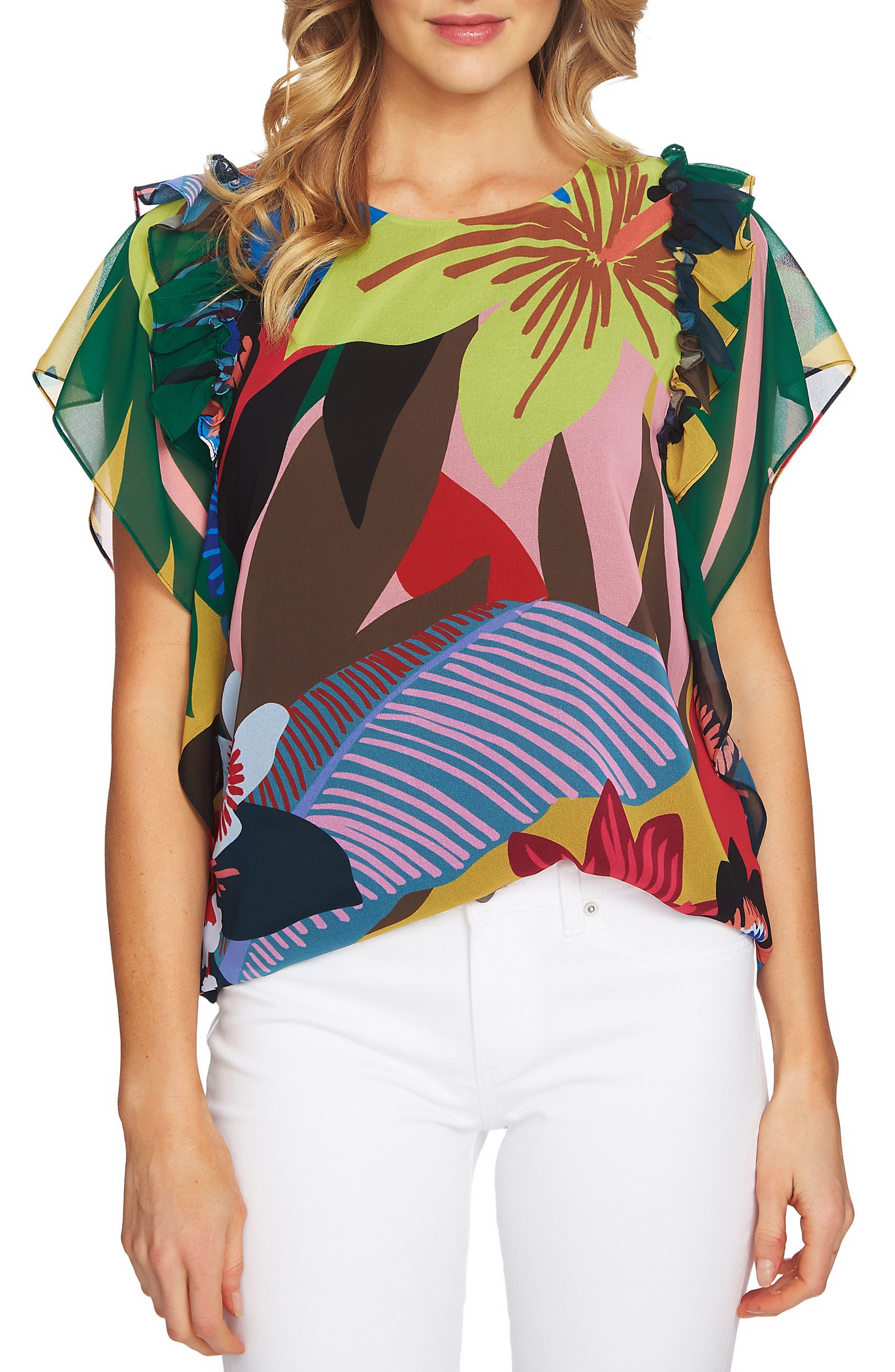 Jungle Splendor Ruffle Shoulder Top,                         Main,                         color, 334