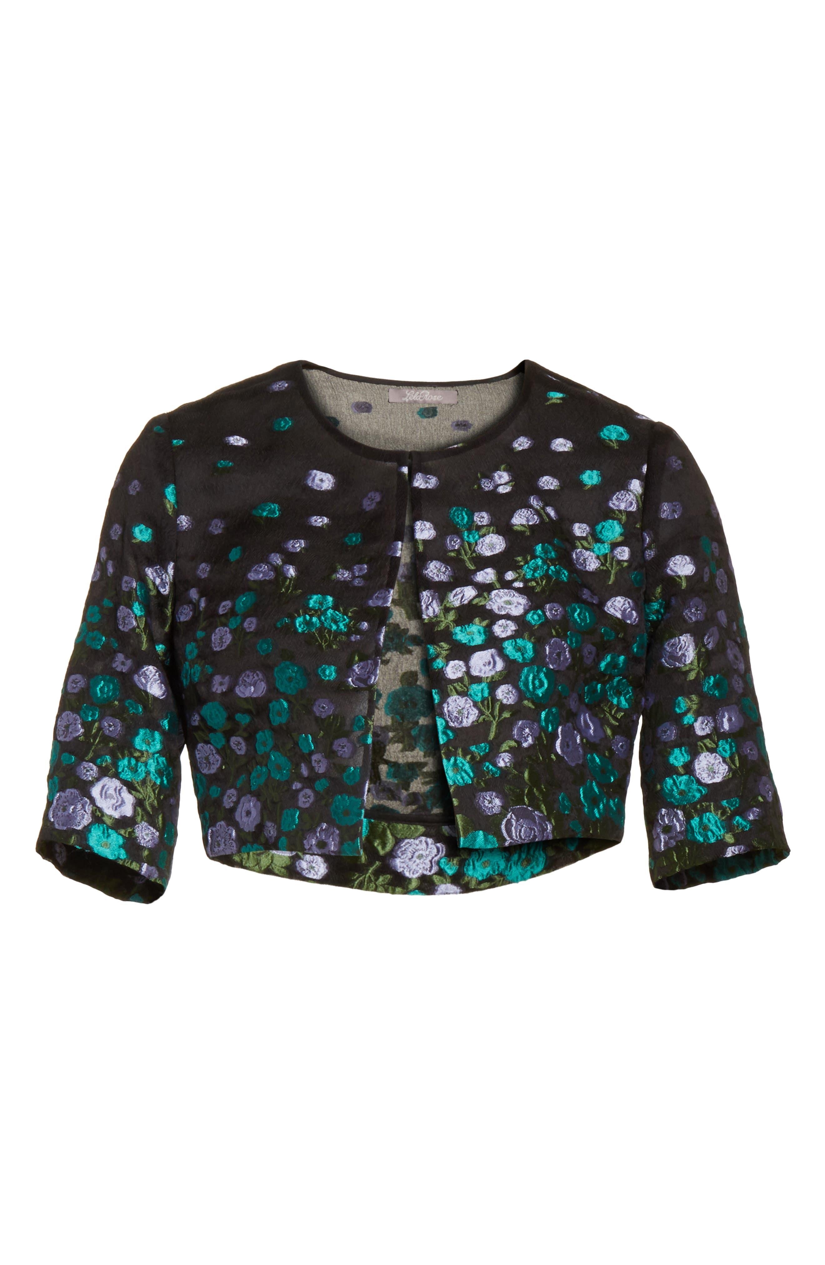 Floral Matelassé Crop Jacket,                             Alternate thumbnail 5, color,                             532