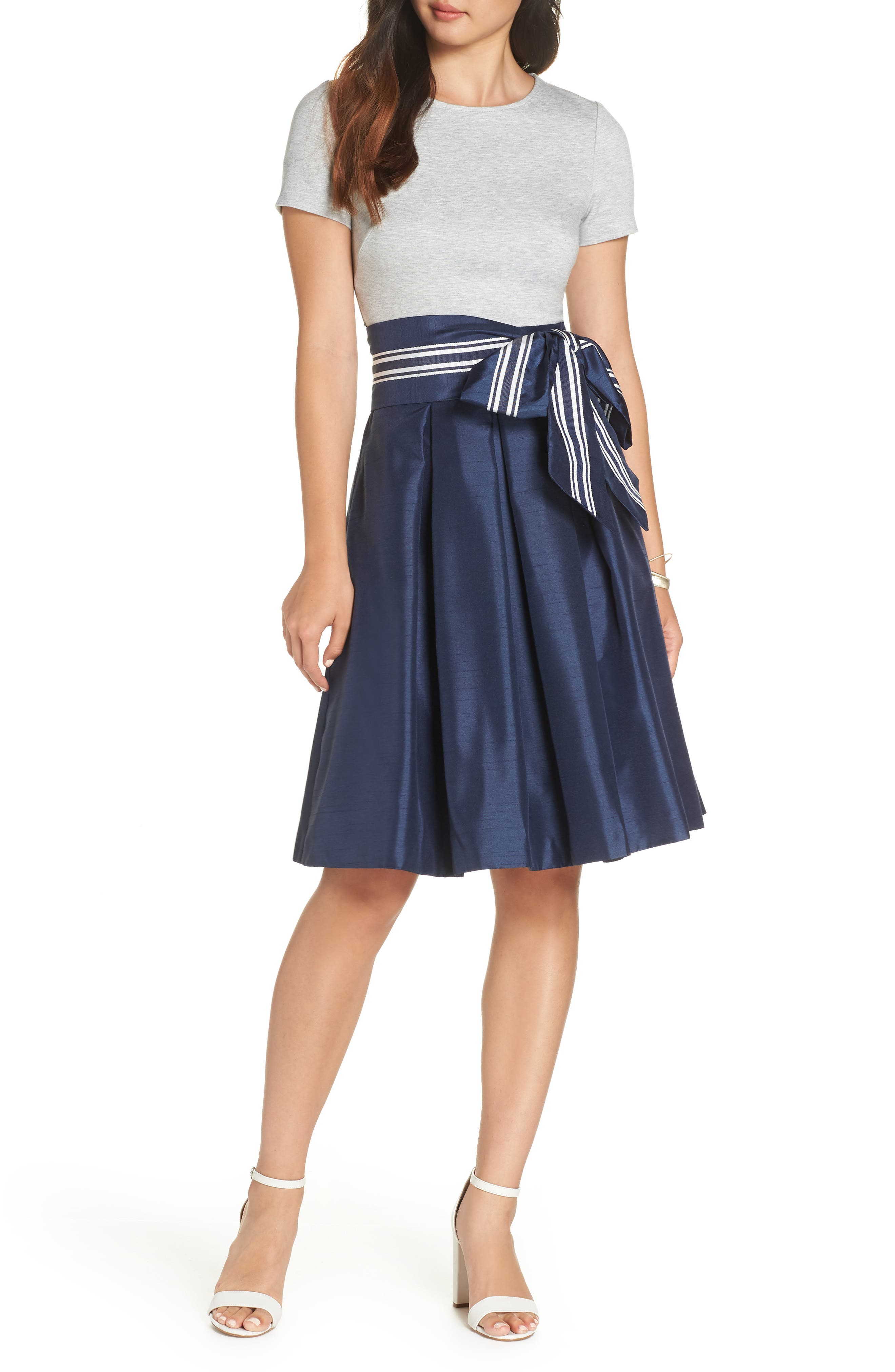Mixed Media Dress,                             Main thumbnail 1, color,                             GREY- NAVY COLORBLOCK