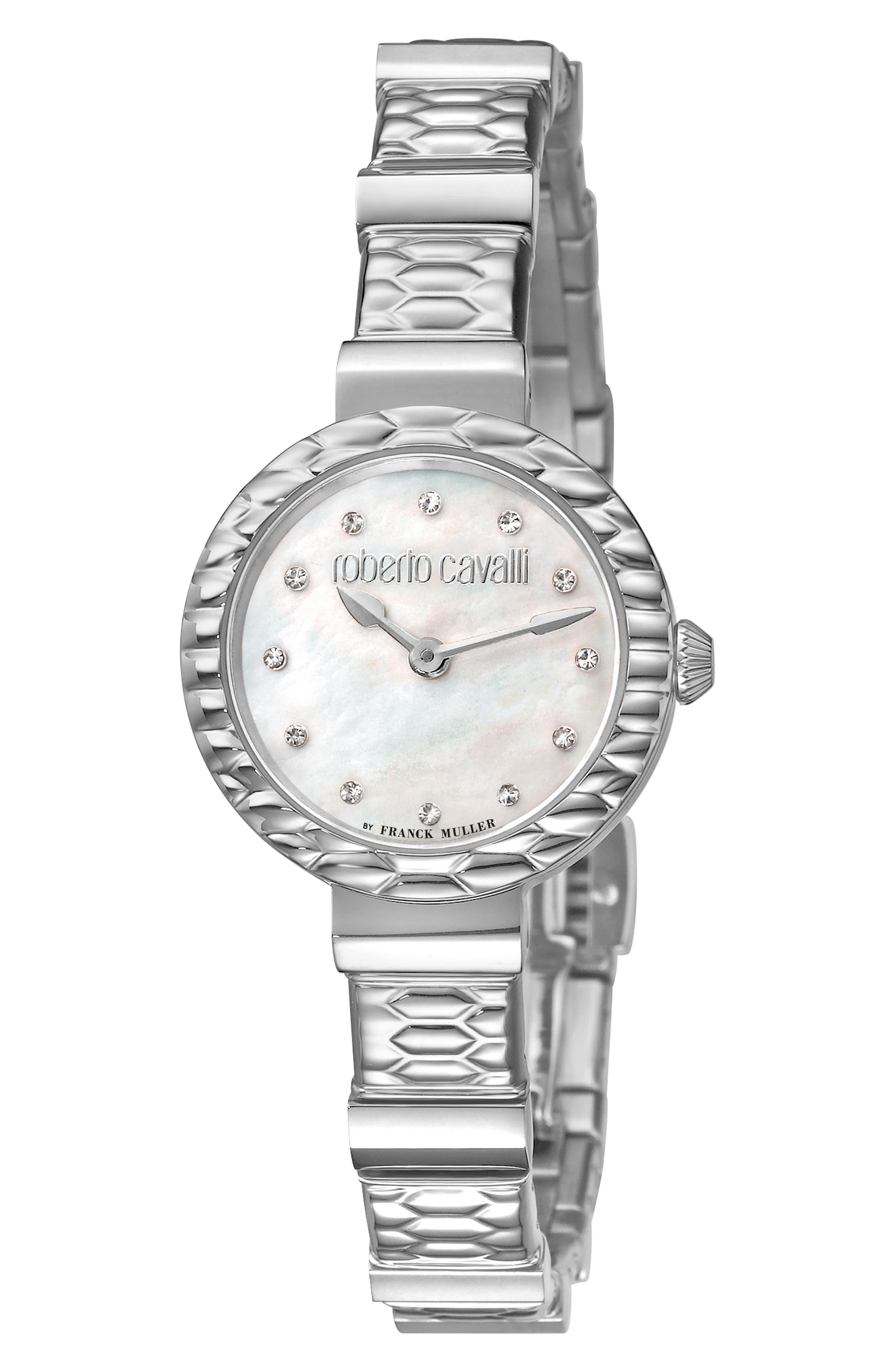 ROBERTO CAVALLI BY FRANCK MULLER Scala Diamond Bracelet Watch, 26Mm in Silver/ White Mop/ Silver