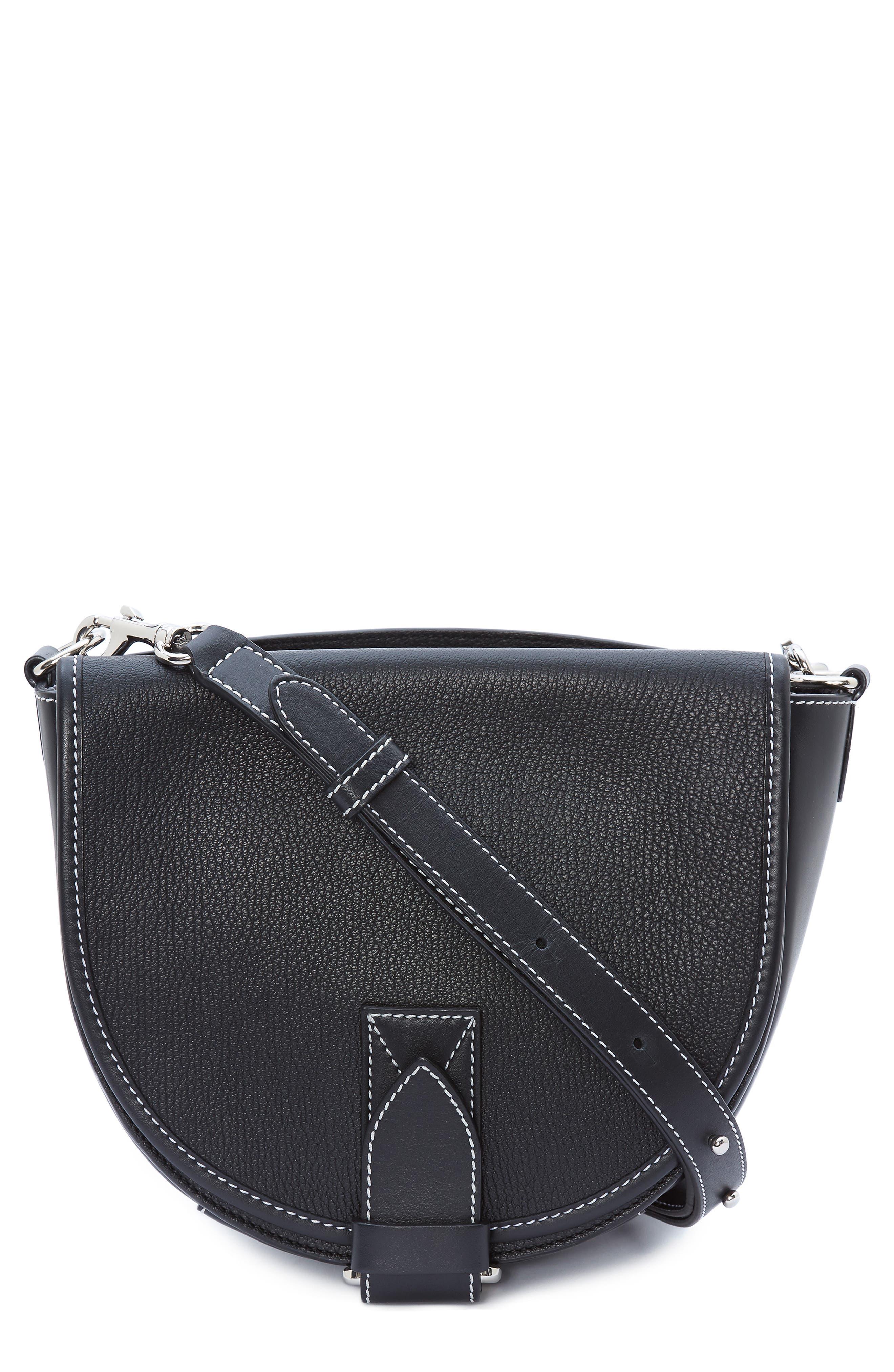 JW ANDERSON Small Bike Leather Crossbody Bag, Main, color, BLACK