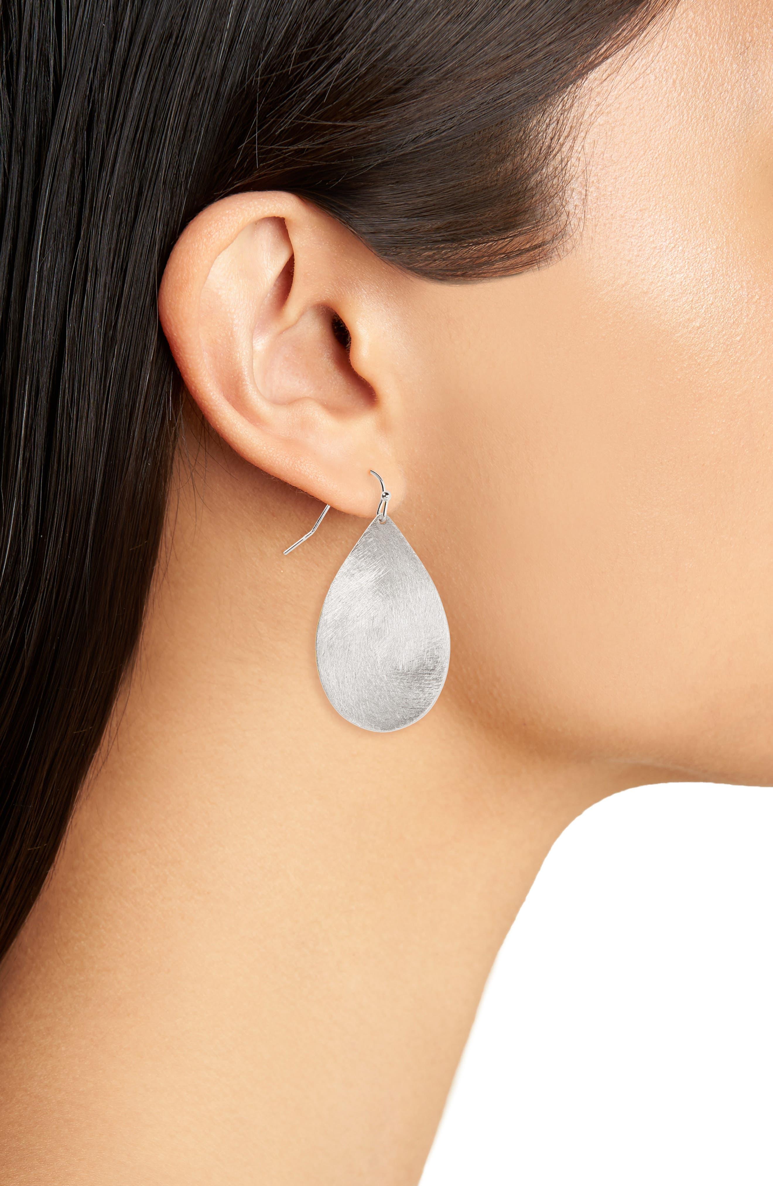 Large Brushed Teardrop Earrings,                             Alternate thumbnail 2, color,                             RHODIUM