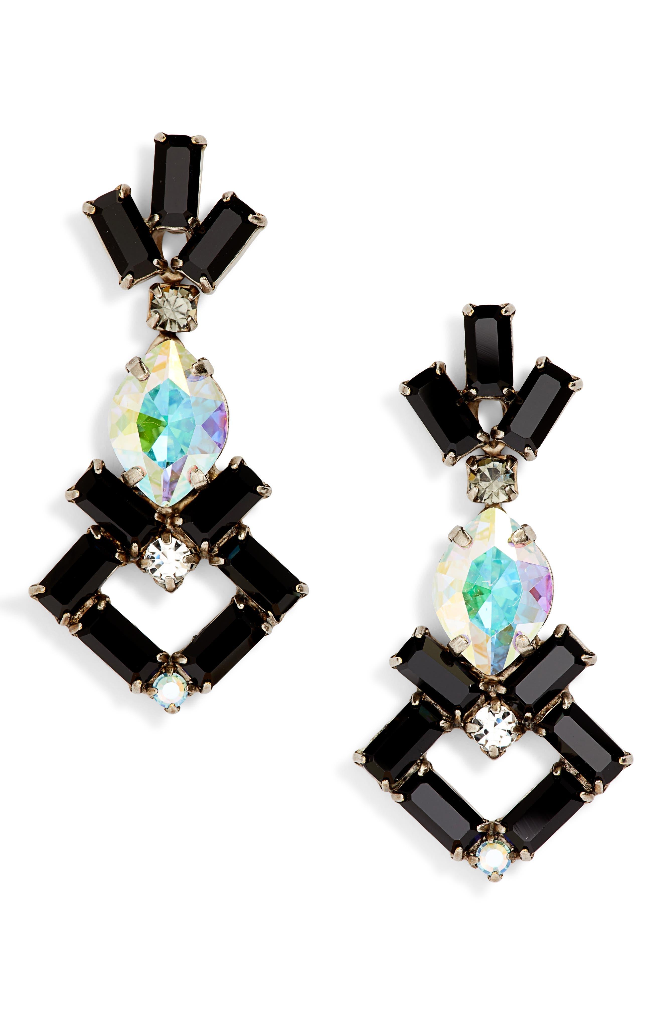 Artisanal Statement Earrings,                         Main,                         color, BLACK