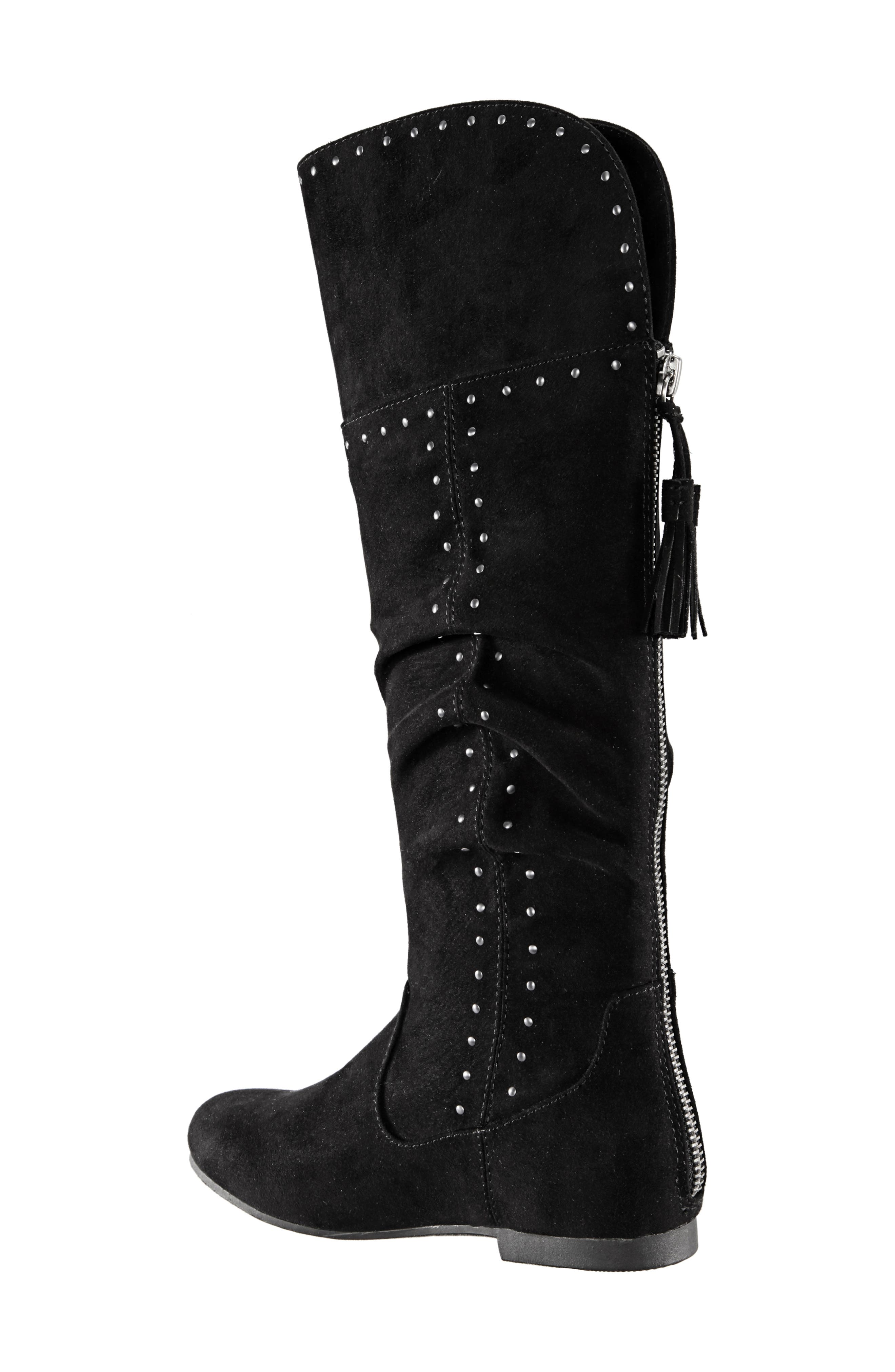 Gem Slouchy Studded Boot,                             Alternate thumbnail 2, color,                             BLACK MICRO SUEDE