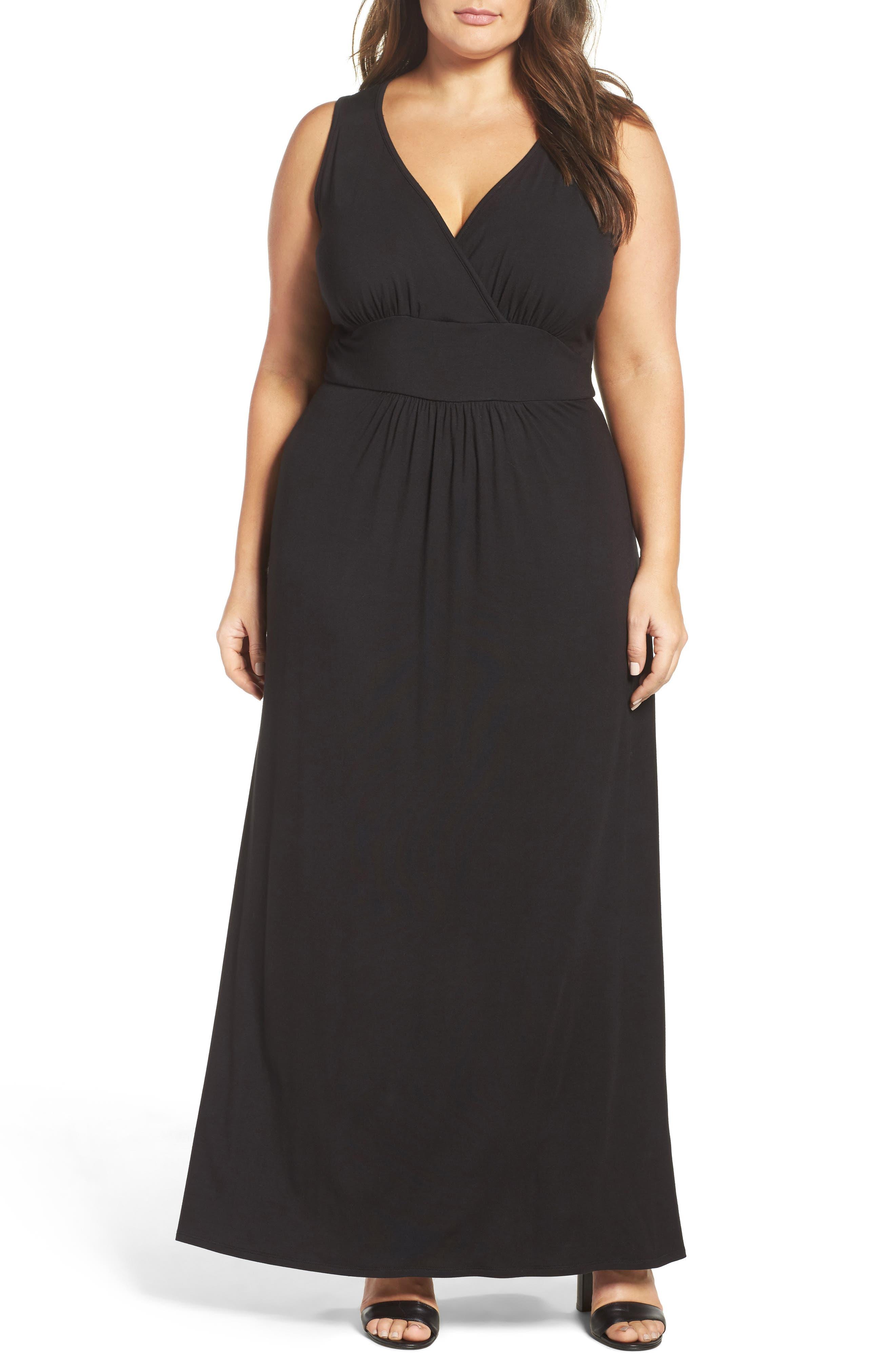 plus size women's loveappella surplice maxi dress, size 3x - black