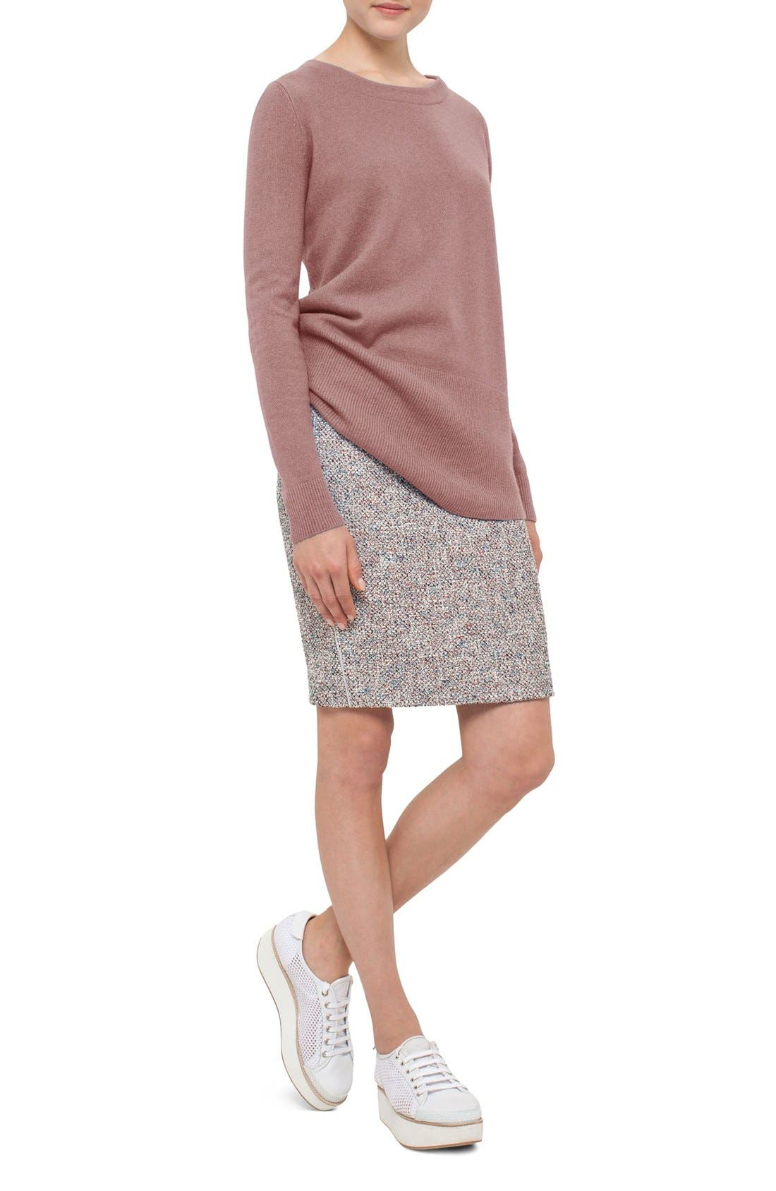 Stretch Tweed Pencil Skirt,                             Alternate thumbnail 3, color,                             900