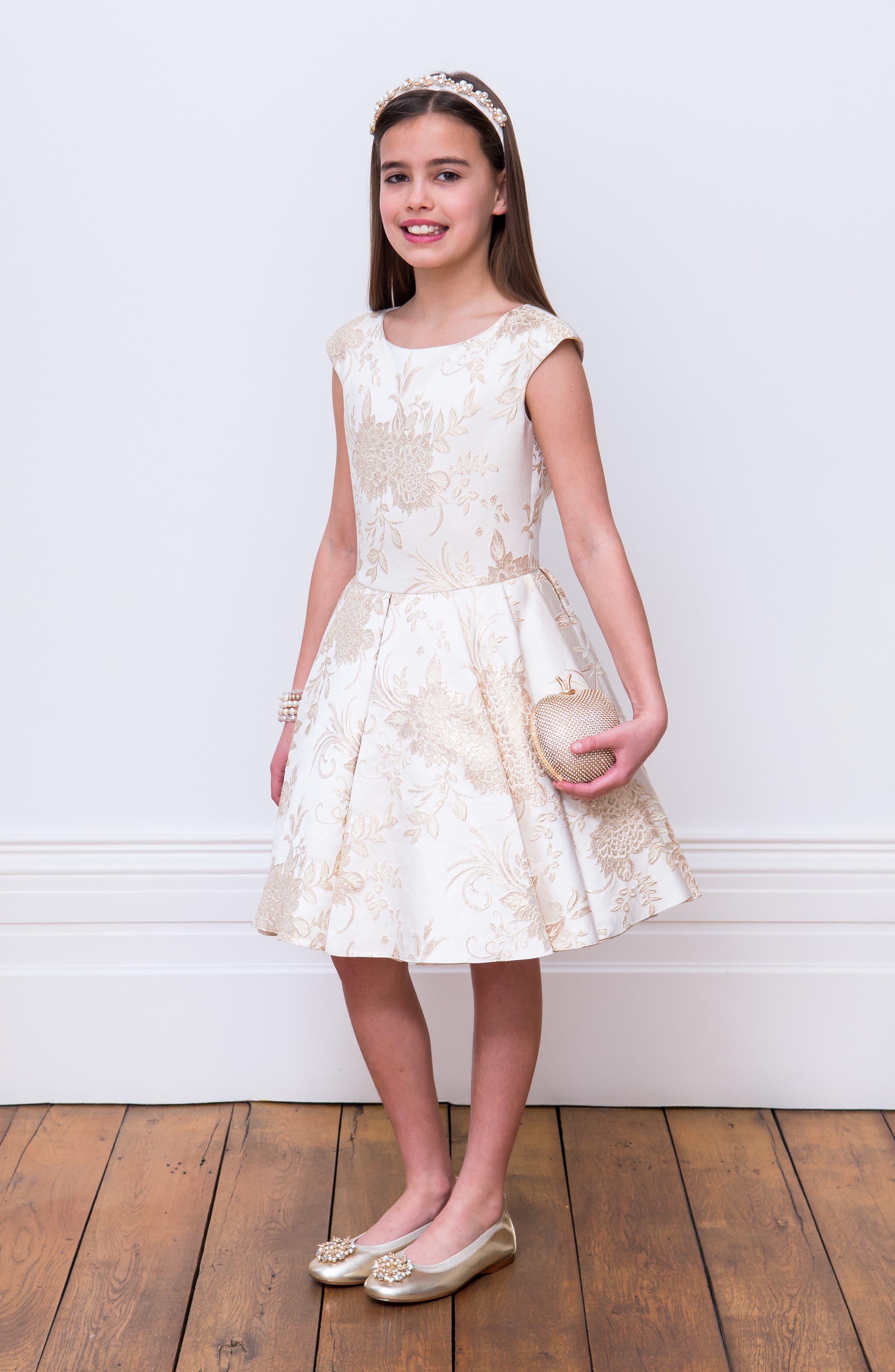 Brocade Dress,                             Alternate thumbnail 4, color,                             101