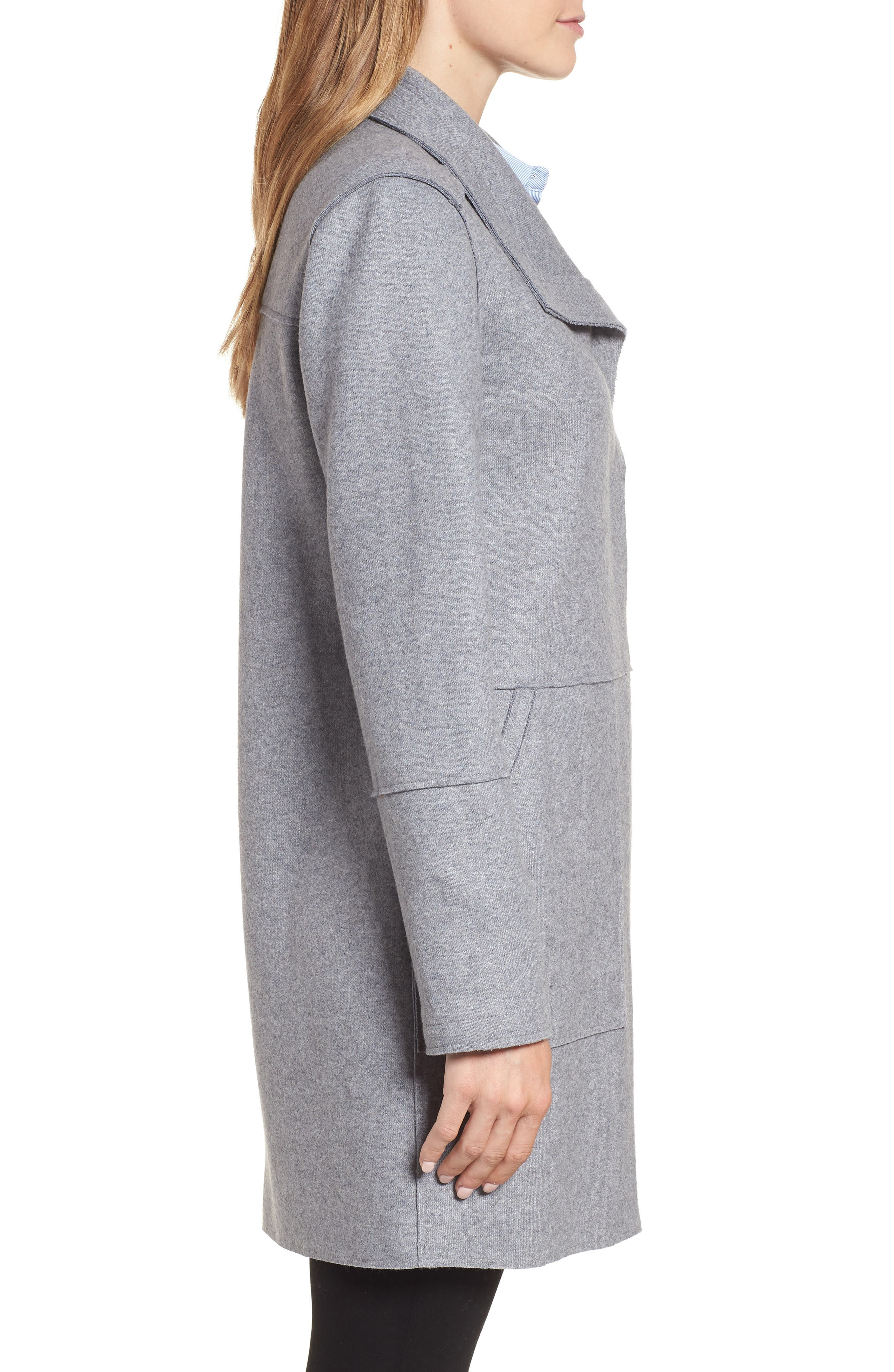 Envelope Collar Wool Blend Knit Coat,                             Alternate thumbnail 3, color,                             LIGHT GREY