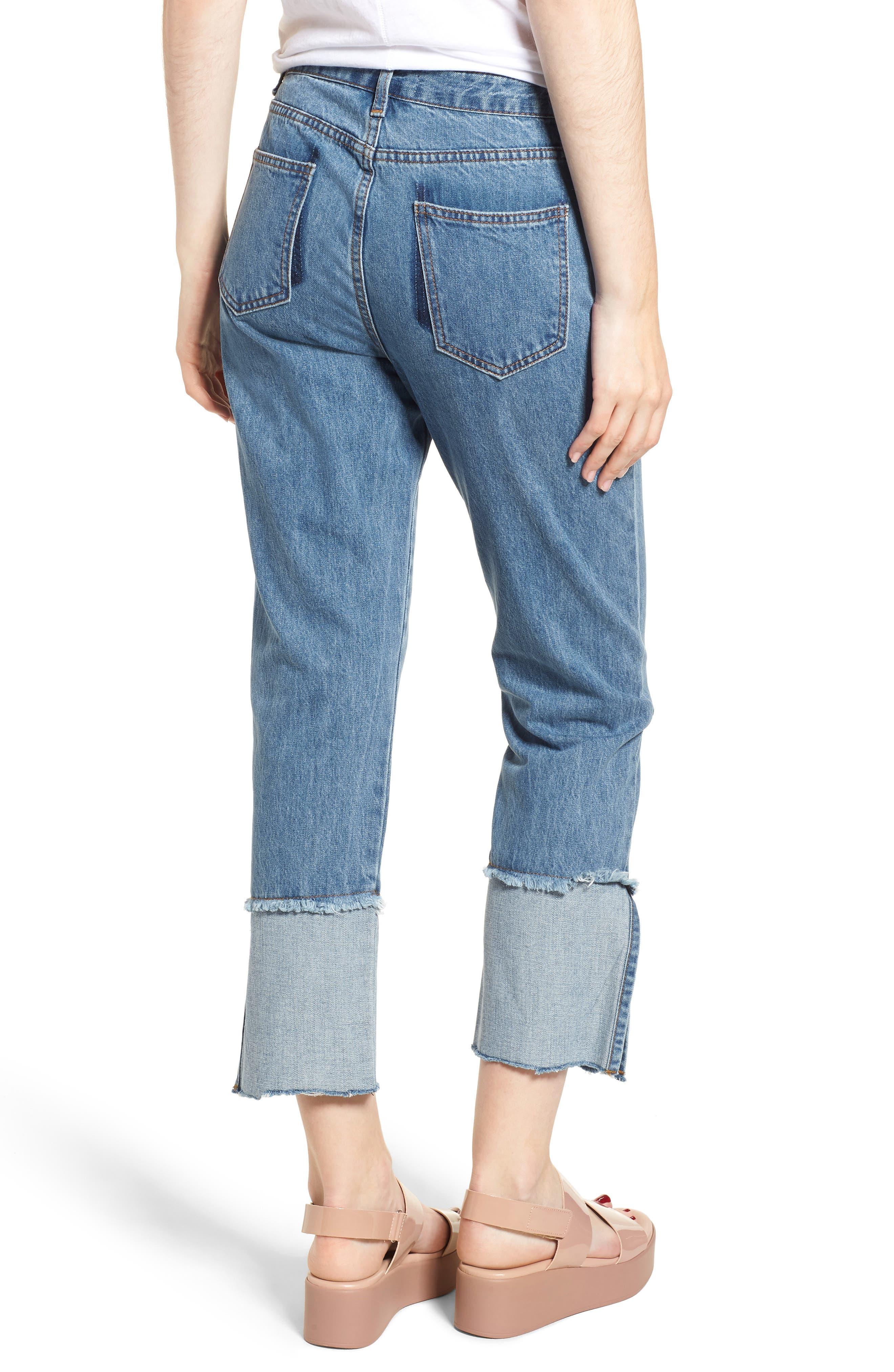 Cuffed Raw Hem Crop Jeans,                             Alternate thumbnail 2, color,                             FAIRFAX