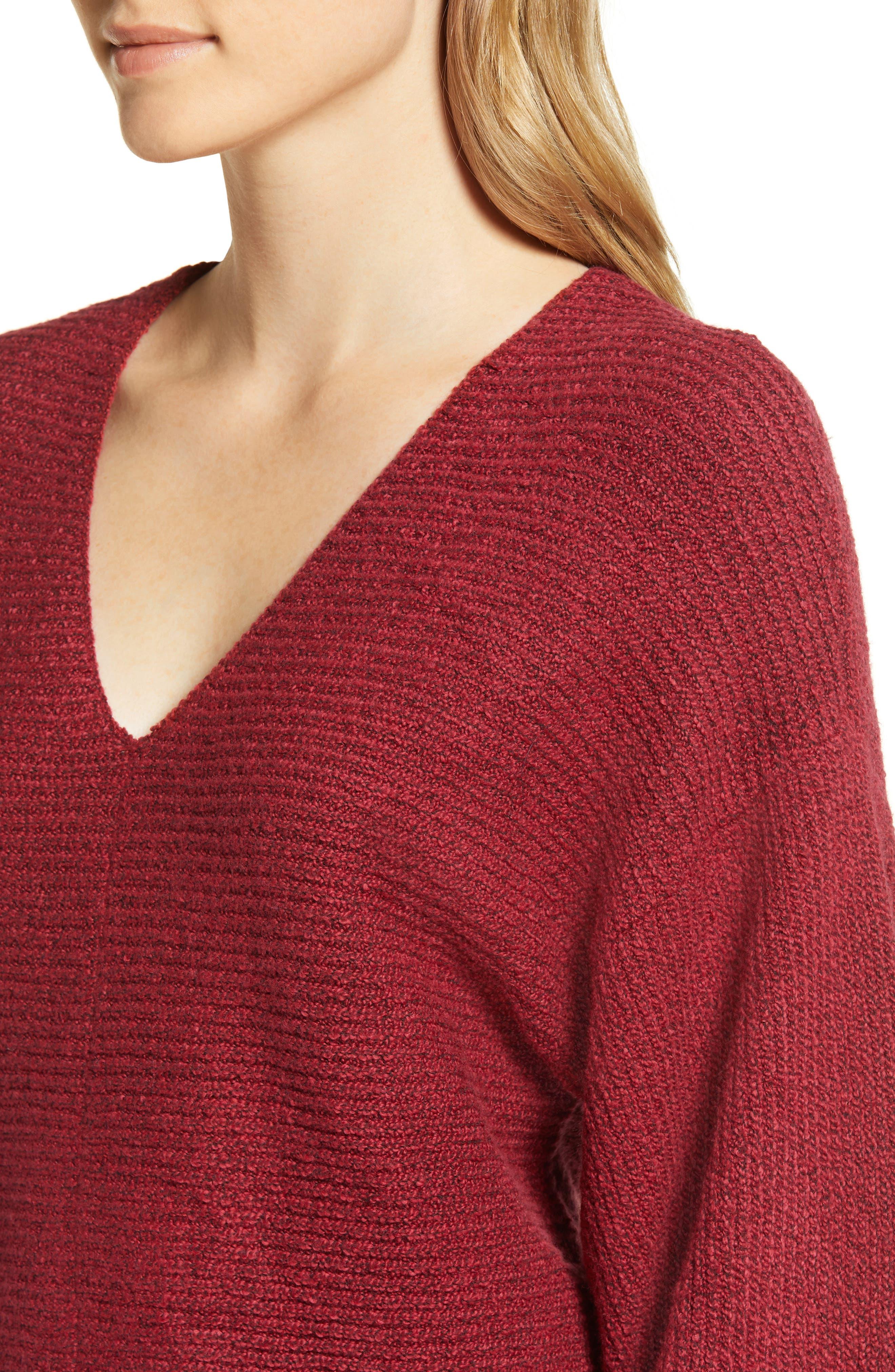Blouson Sleeve V-Neck Sweater,                             Alternate thumbnail 4, color,                             641