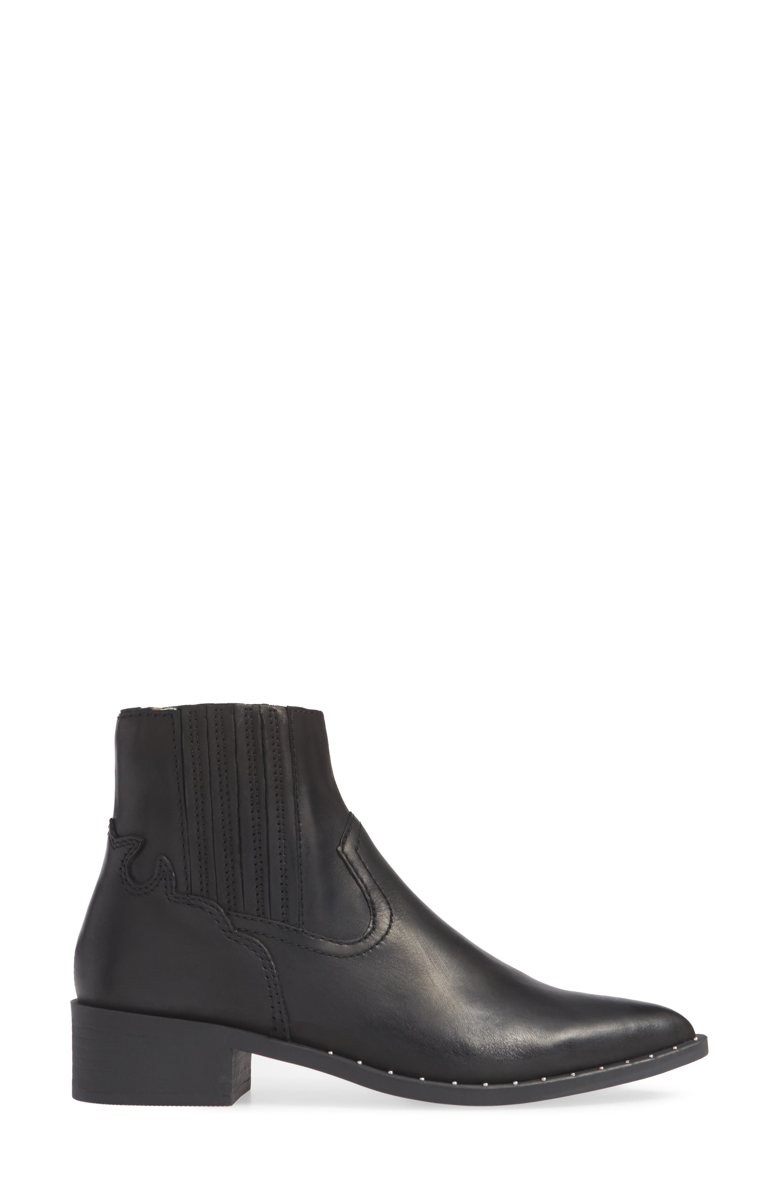 Juke Bootie,                             Alternate thumbnail 3, color,                             BLACK LEATHER