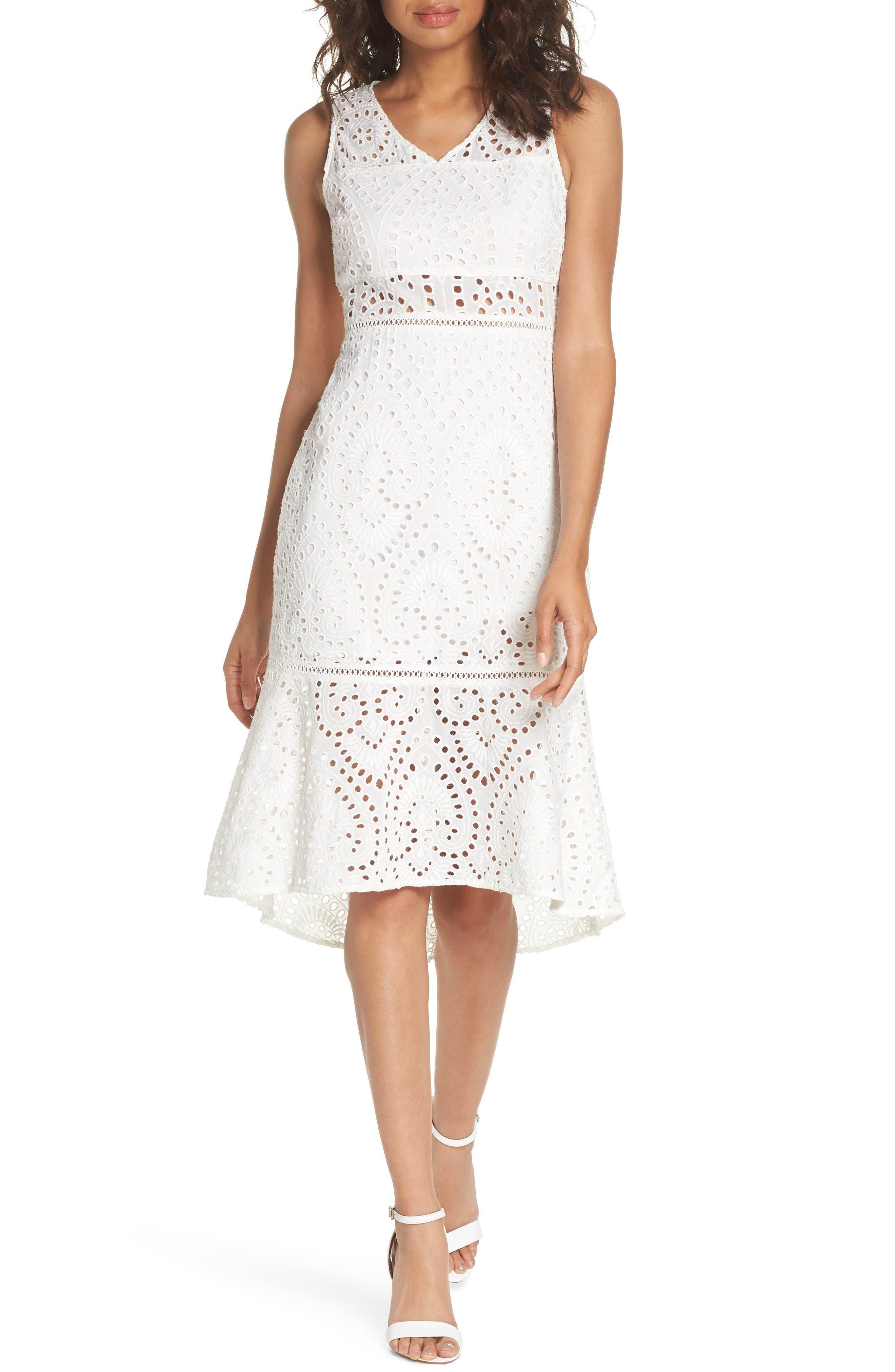 Selma Sleeveless Eyelet Dress,                         Main,                         color, WHITE
