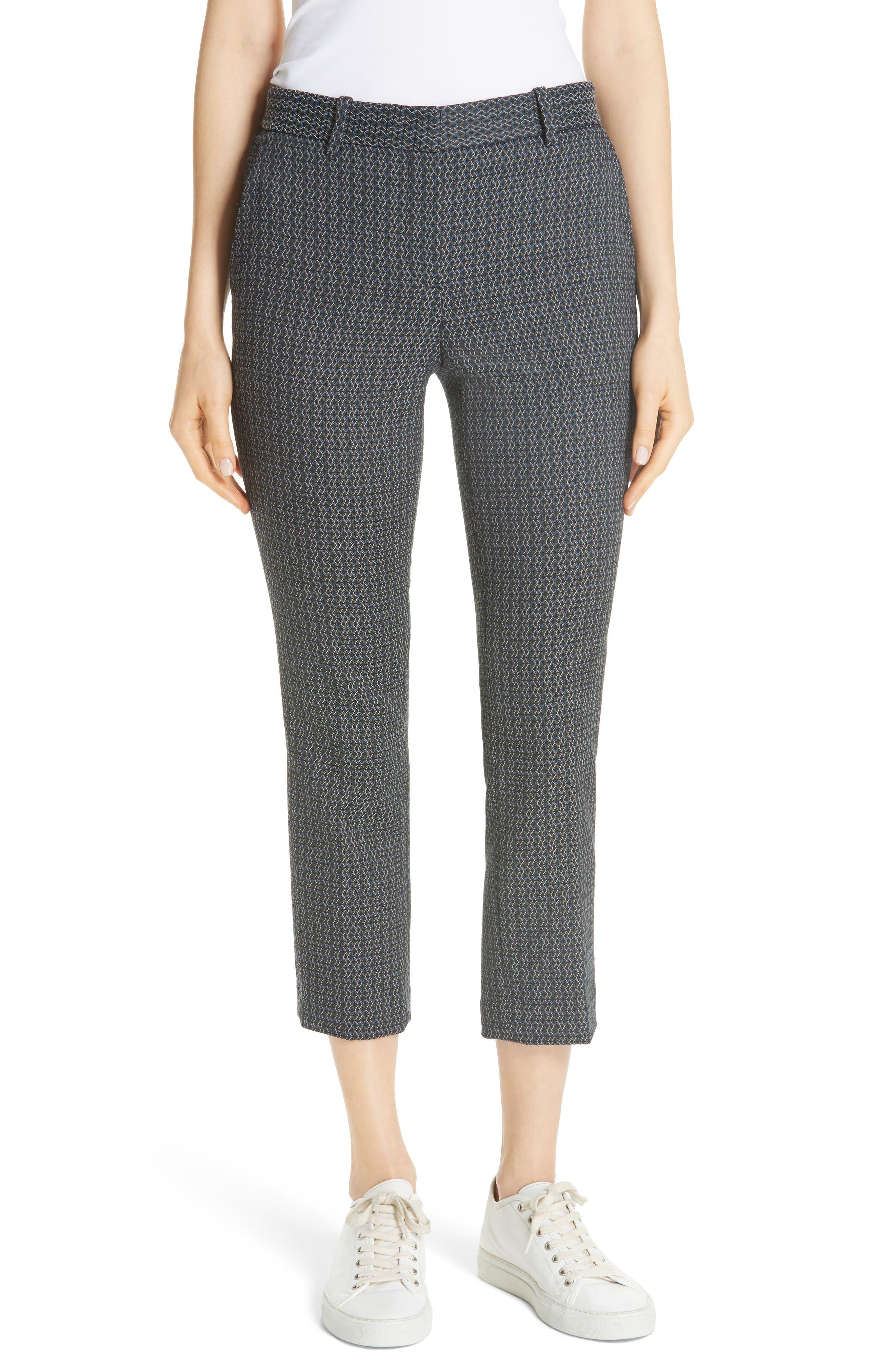 Treeca Shadow Jacquard Slim Crop Pants,                             Main thumbnail 1, color,                             MULTI
