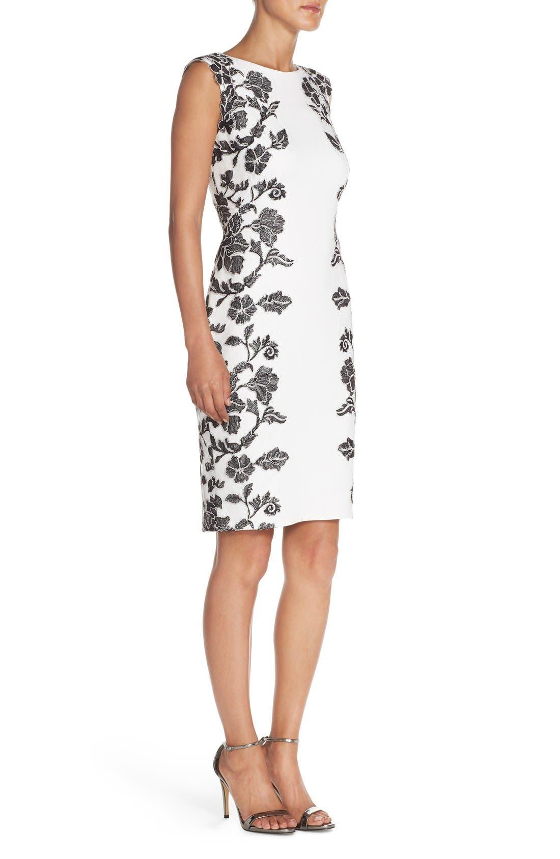 Embroidered Neoprene Sheath Dress,                             Alternate thumbnail 8, color,