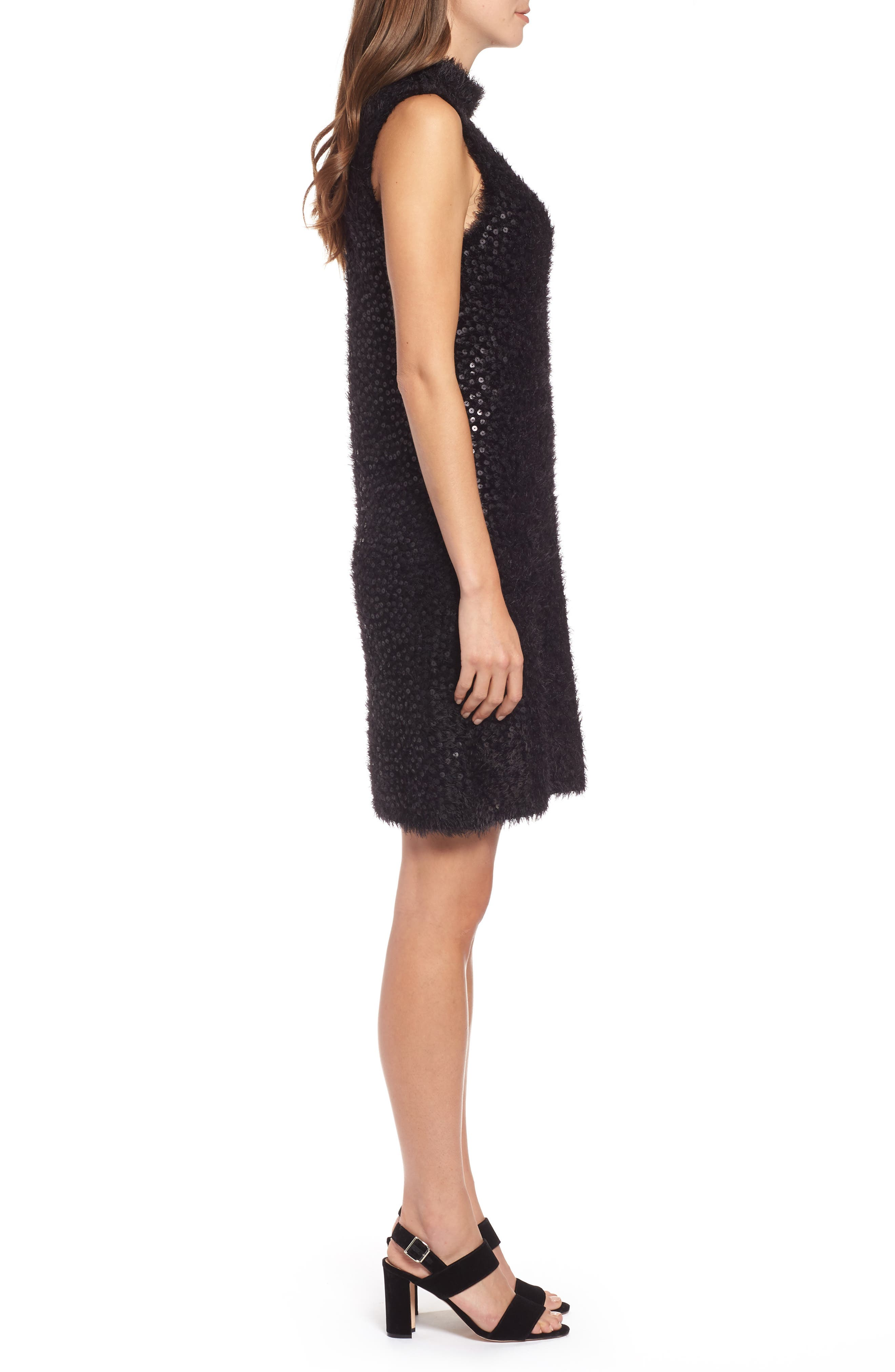 Cozy Sequin Dress,                             Alternate thumbnail 3, color,                             BLACK ONYX