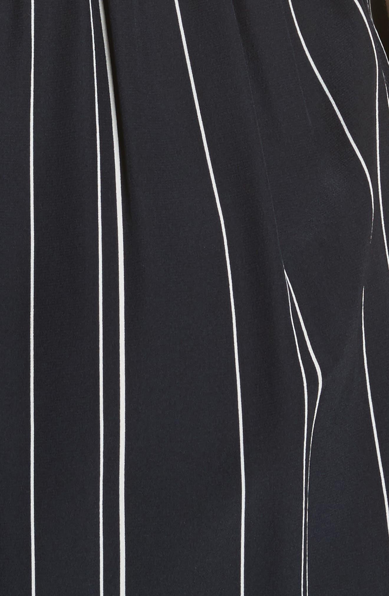 Draped Front Stripe Silk Midi Dress,                             Alternate thumbnail 5, color,                             403
