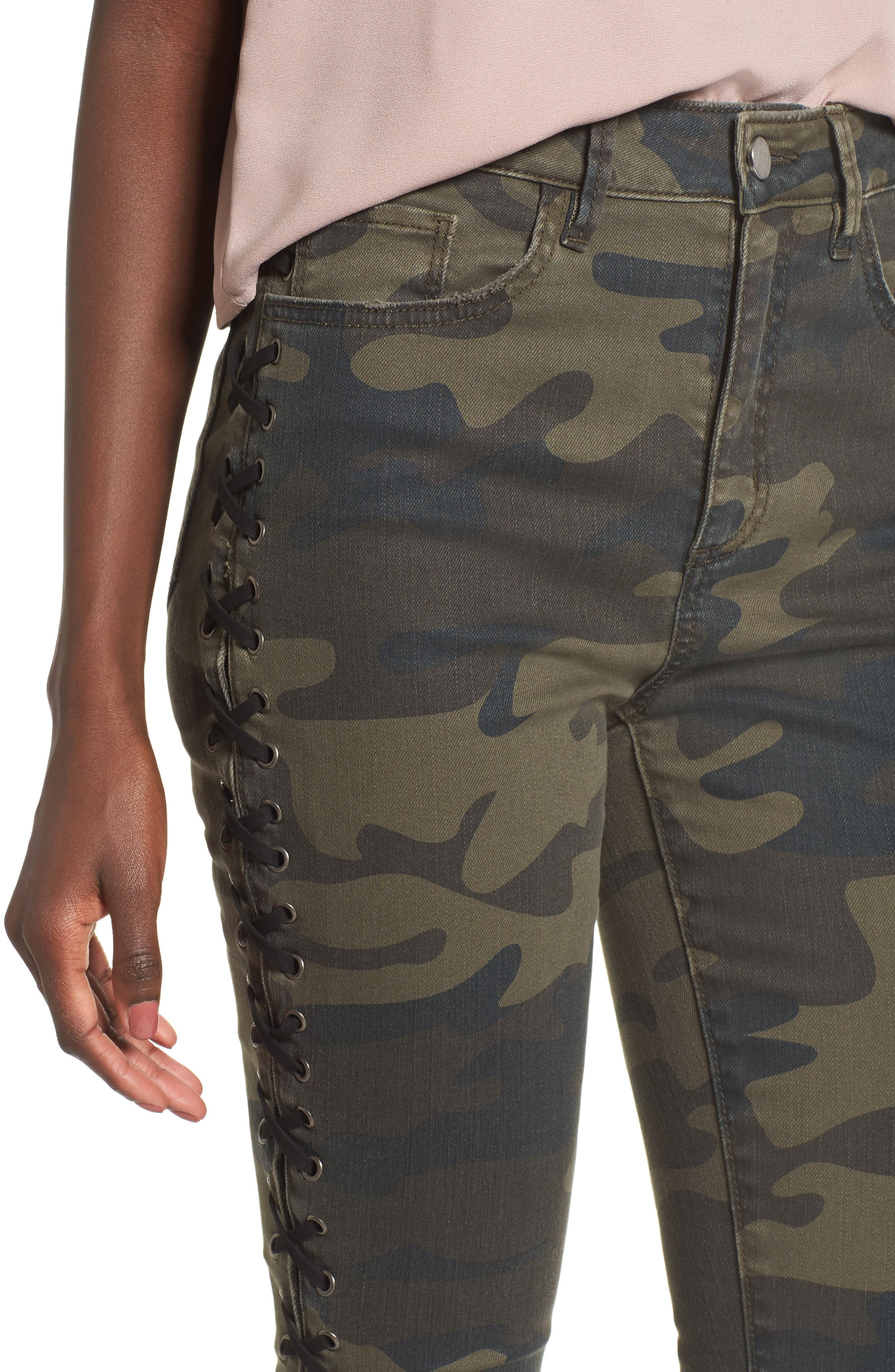 Lace Up Camo Crop Skinny Jeans,                             Alternate thumbnail 4, color,                             300