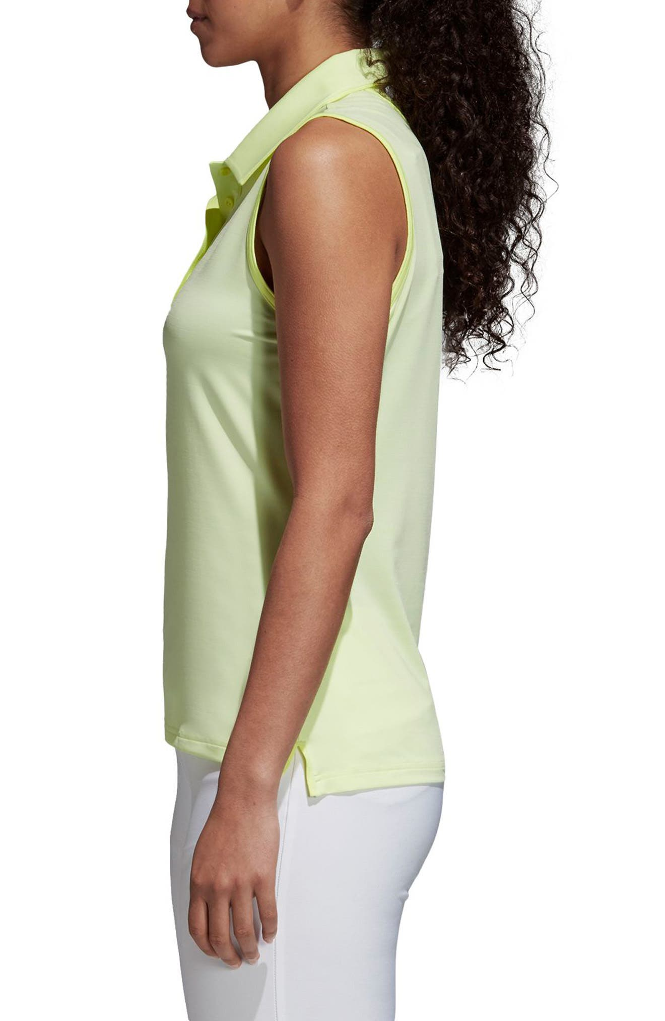 Ultimate365 Sleeveless Golf Polo,                             Alternate thumbnail 3, color,                             FROZEN YELLOW