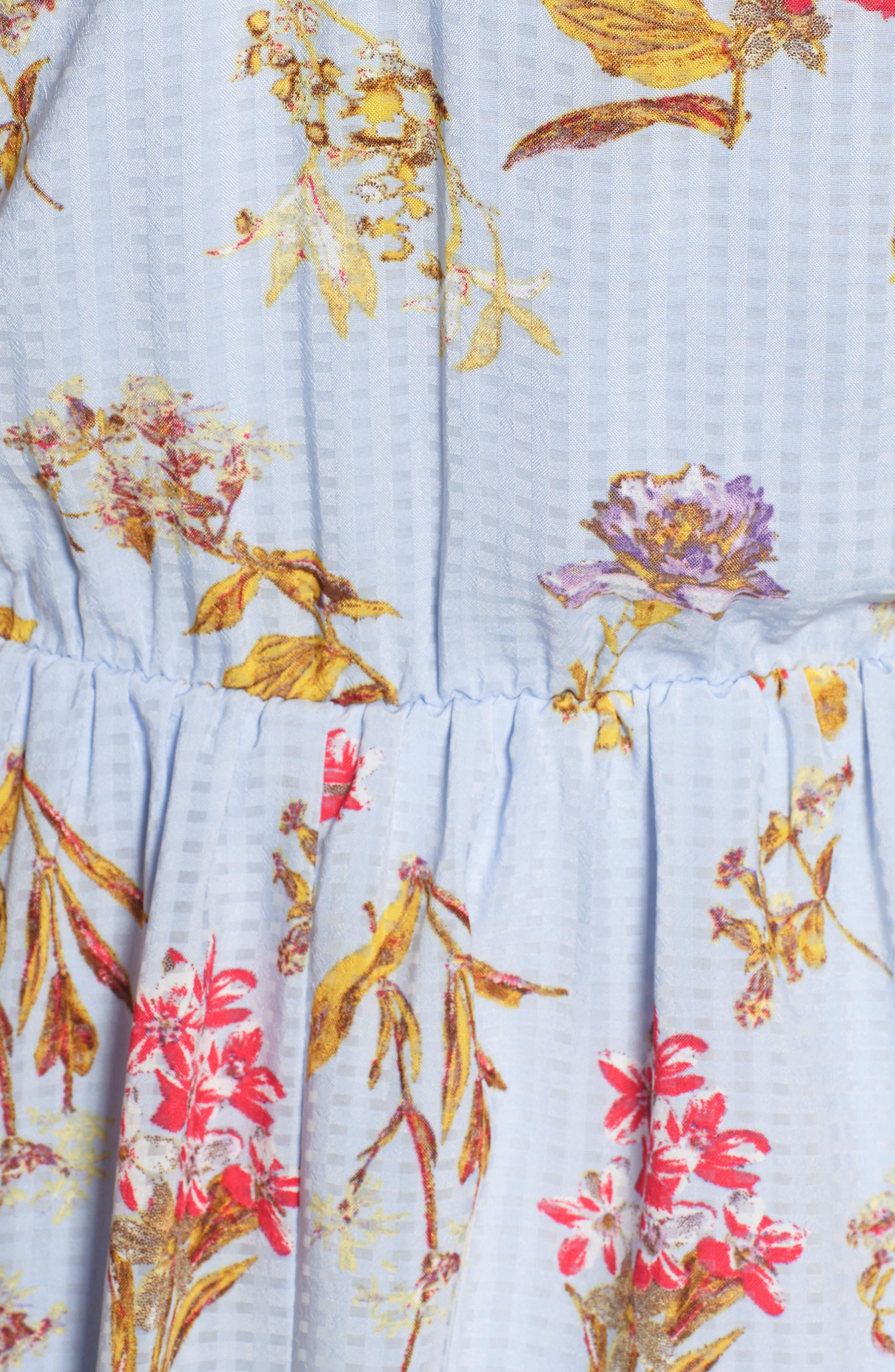 Floral Tie Front Dress,                             Alternate thumbnail 6, color,                             400