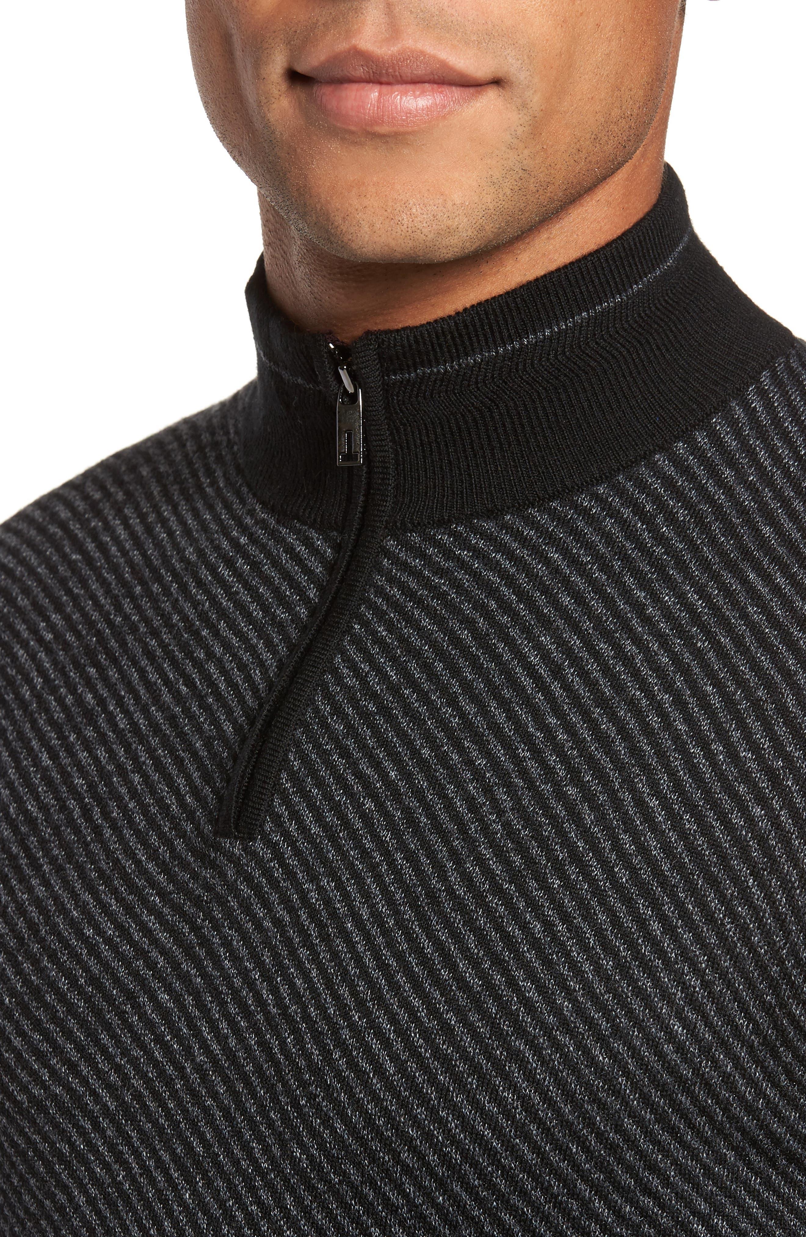 Stripe Quarter Zip Sweater,                             Alternate thumbnail 4, color,                             001