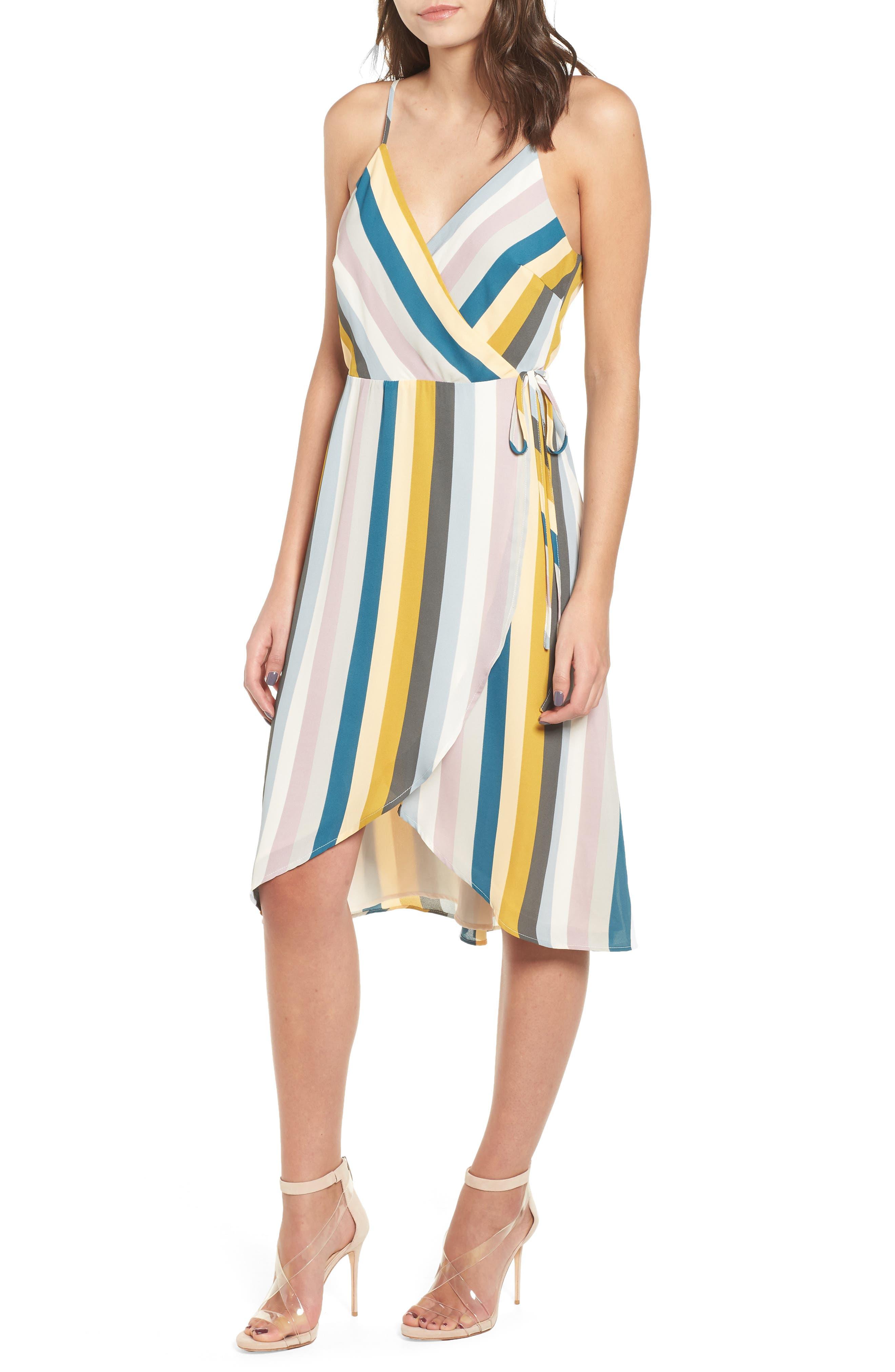 Stripe Wrap Dress, Main, color, 720